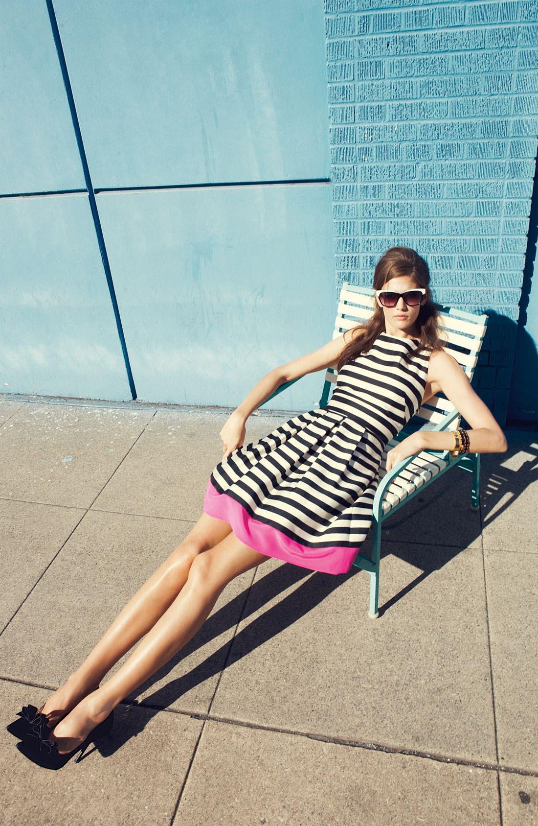 Stripe Crepe Fit & Flare Dress,                             Alternate thumbnail 6, color,                             011