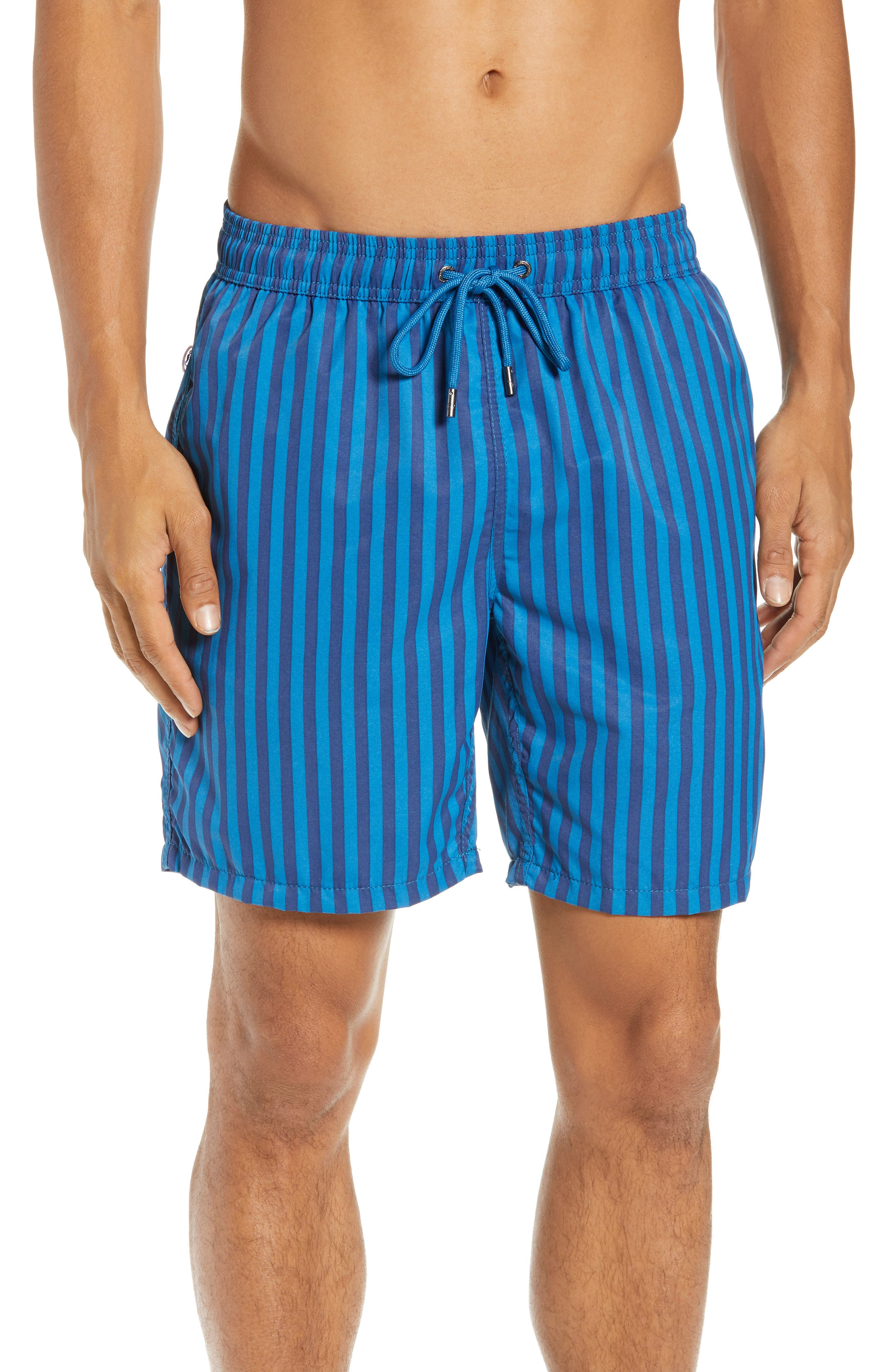 Mr. Swim Cabana Stripe Swim Trunks,                             Main thumbnail 1, color,                             NAVY/ ROYAL