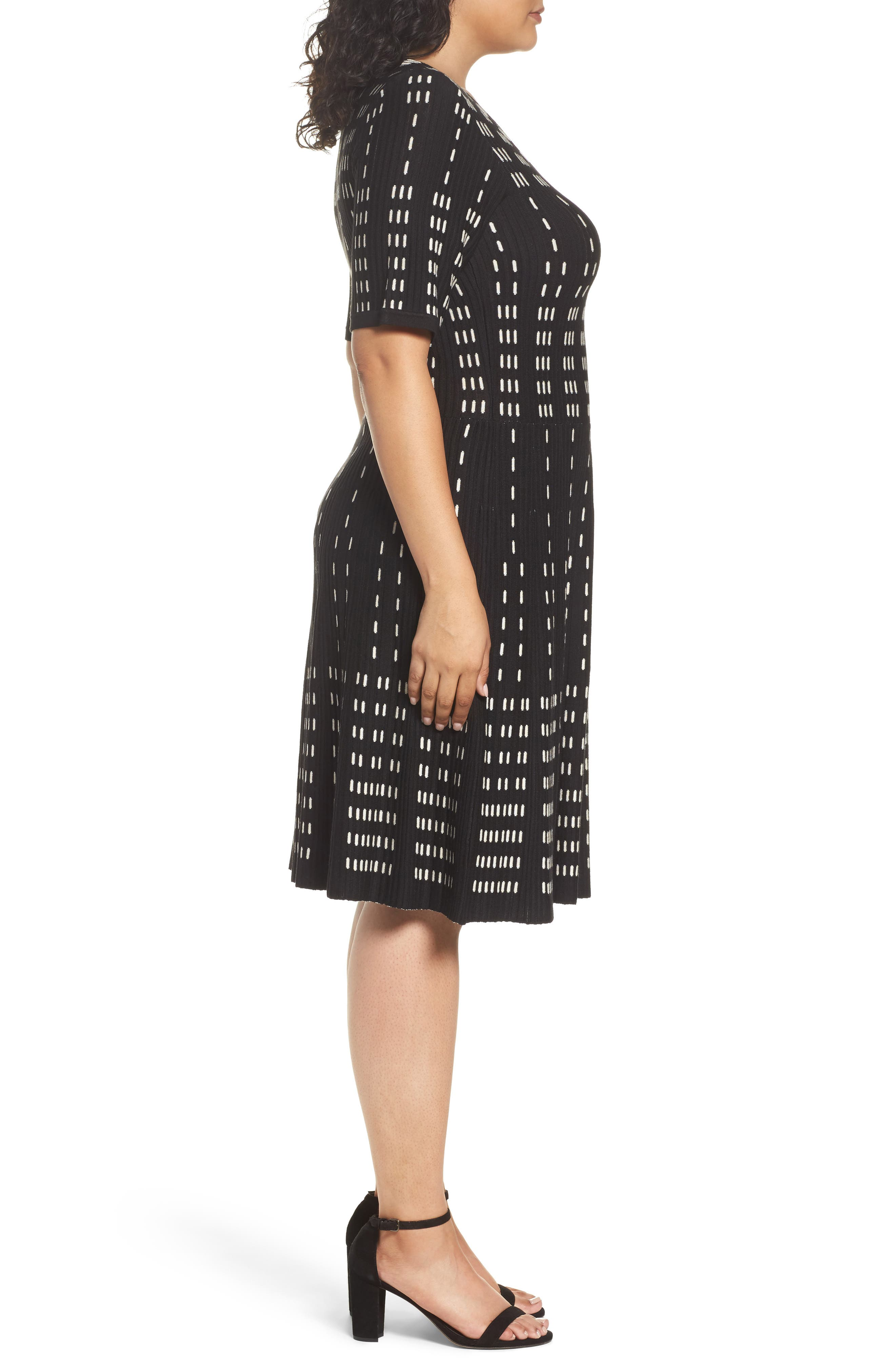 Fit & Flare Sweater Dress,                             Alternate thumbnail 3, color,                             001