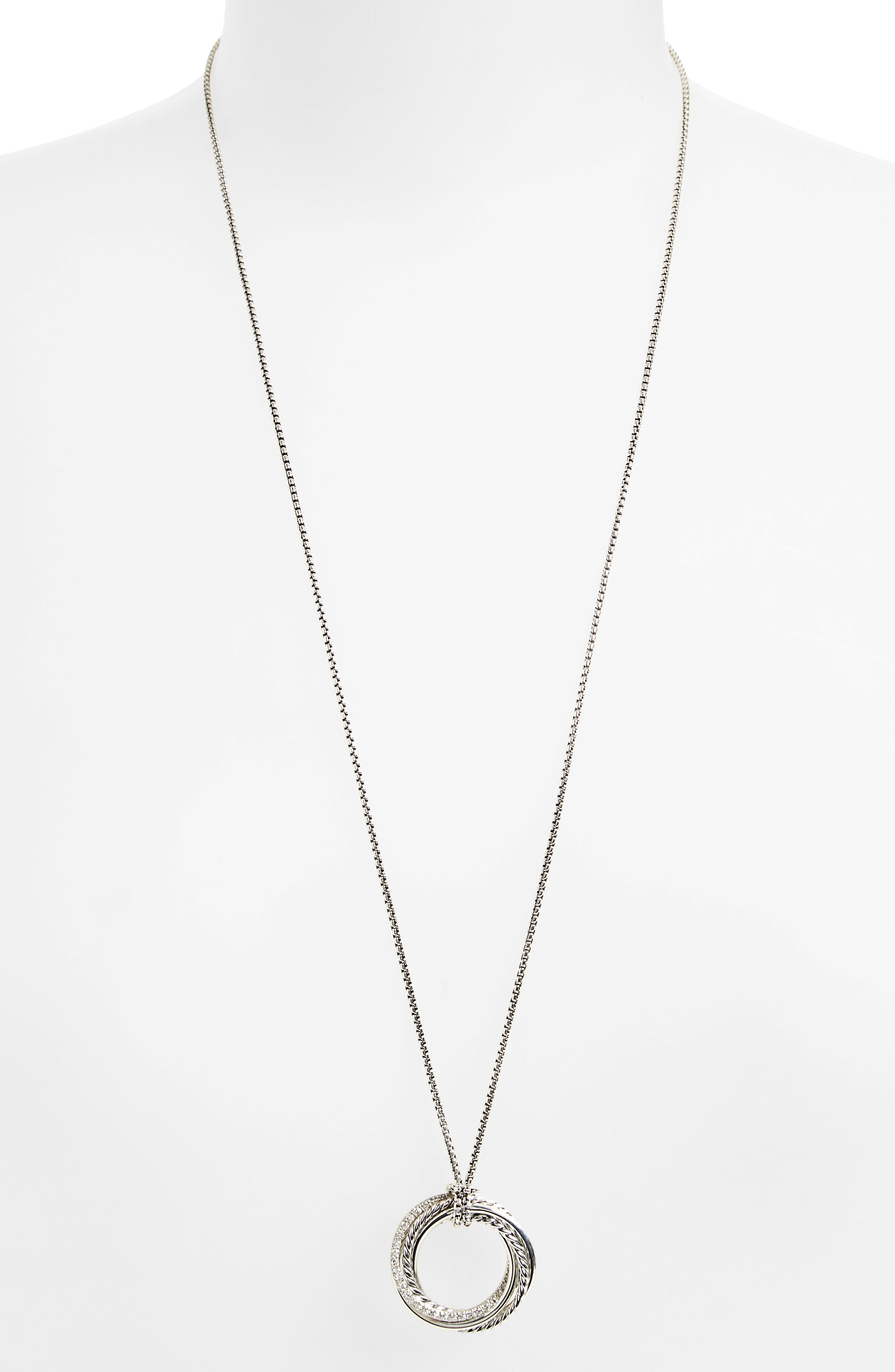 'Crossover' Pendant Necklace with Diamonds,                             Alternate thumbnail 2, color,                             DIAMOND