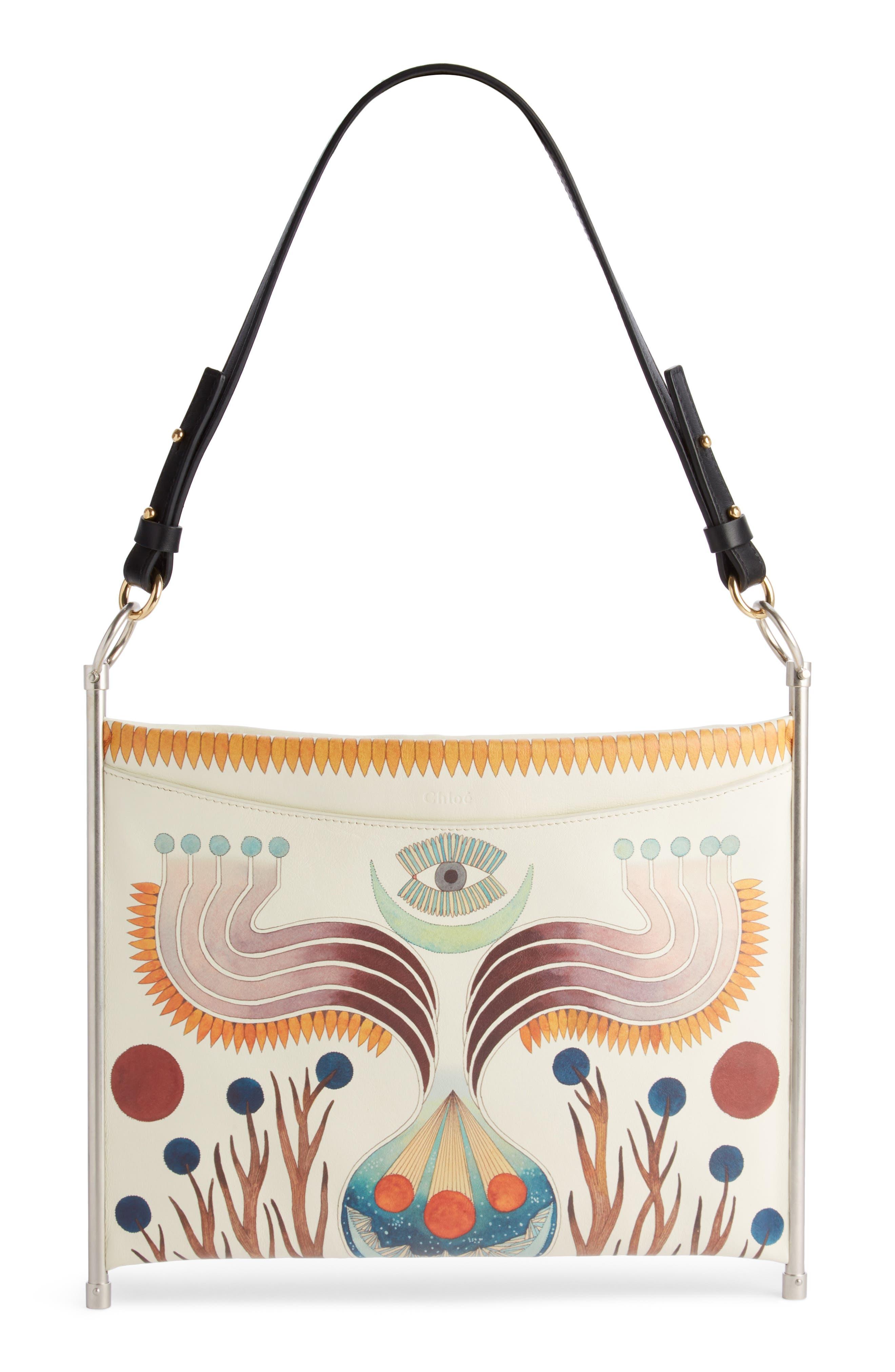 Roy Artist Print Leather Crossbody Bag, Main, color, 100