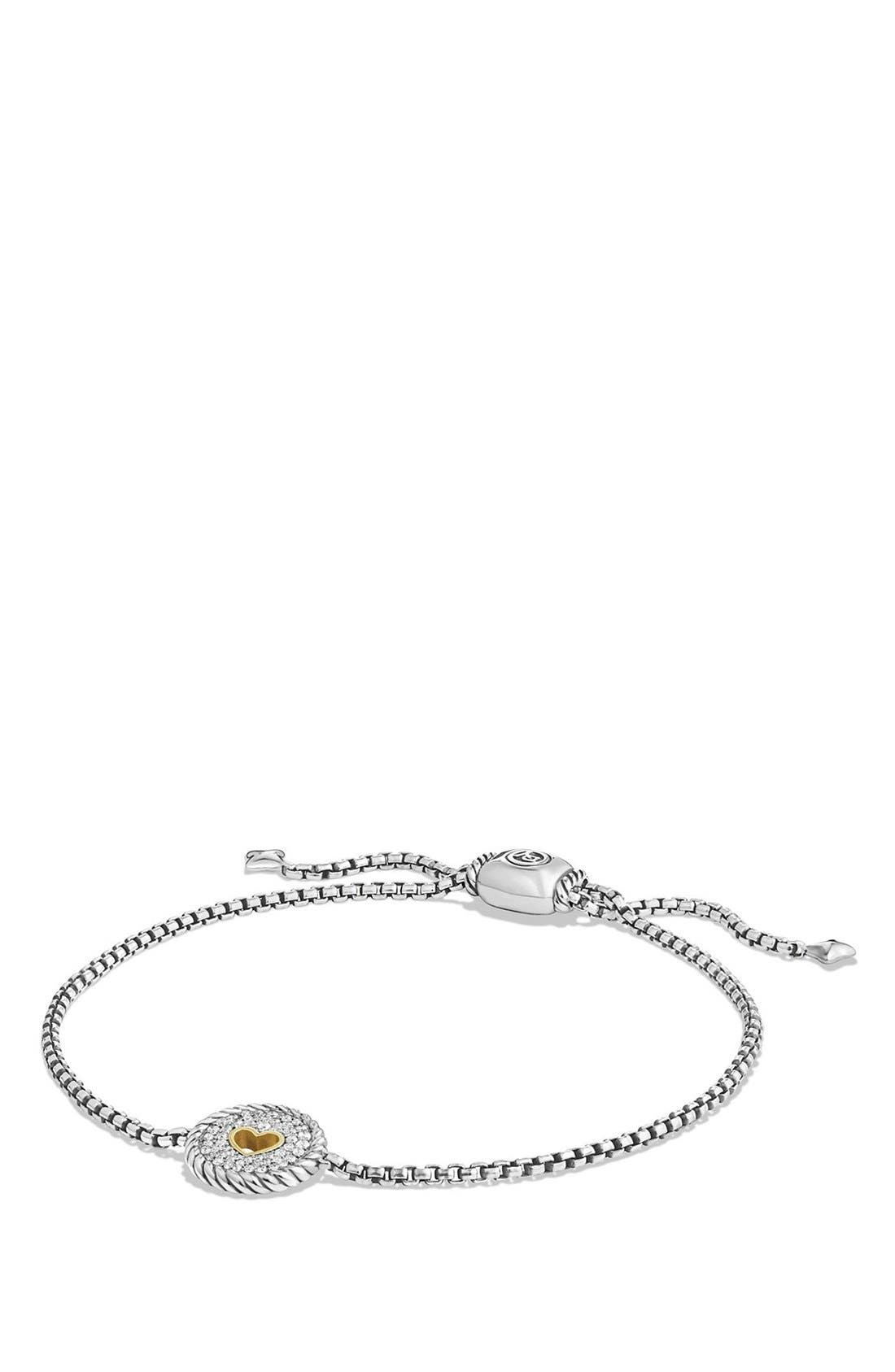 'Cable Collectibles' Heart Station Bracelet with Diamonds,                             Main thumbnail 1, color,                             SILVER/ GOLD