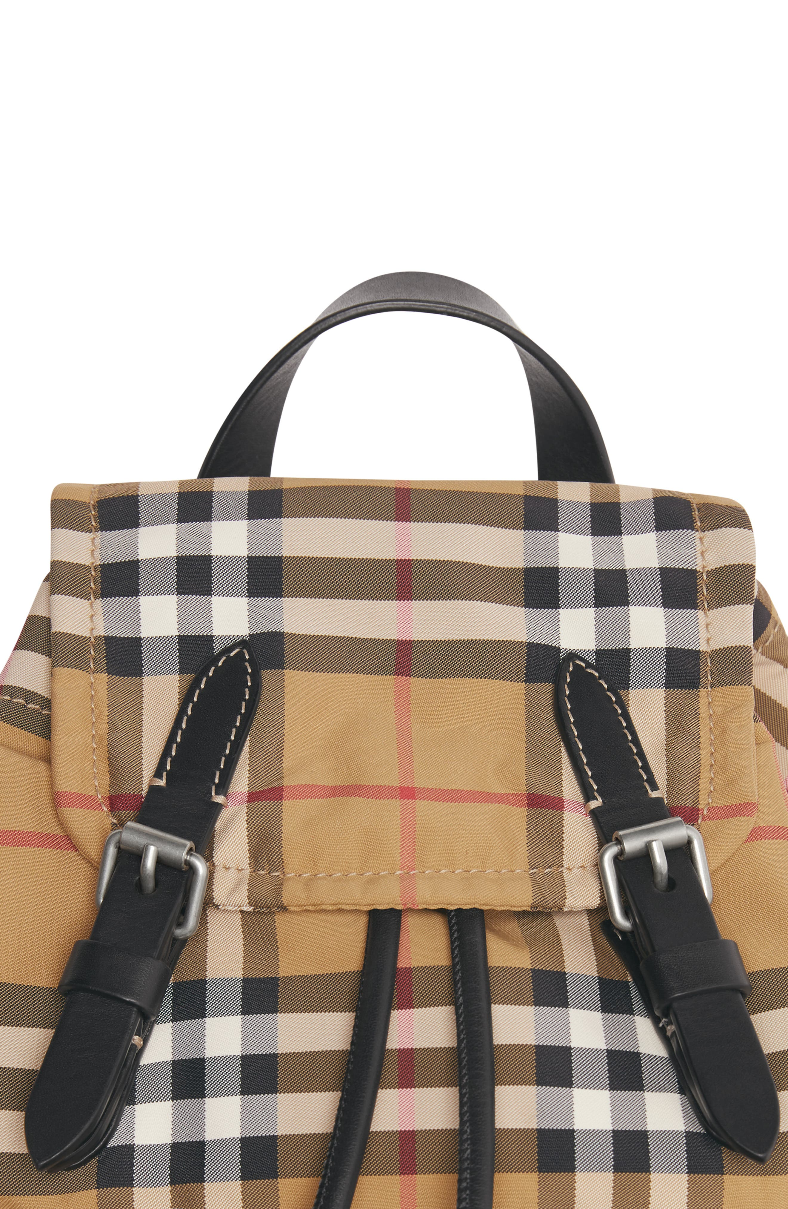 BURBERRY,                             Small Rucksack Vintage Check Nylon Backpack,                             Alternate thumbnail 5, color,                             ANTIQUE YELLOW/ BLACK
