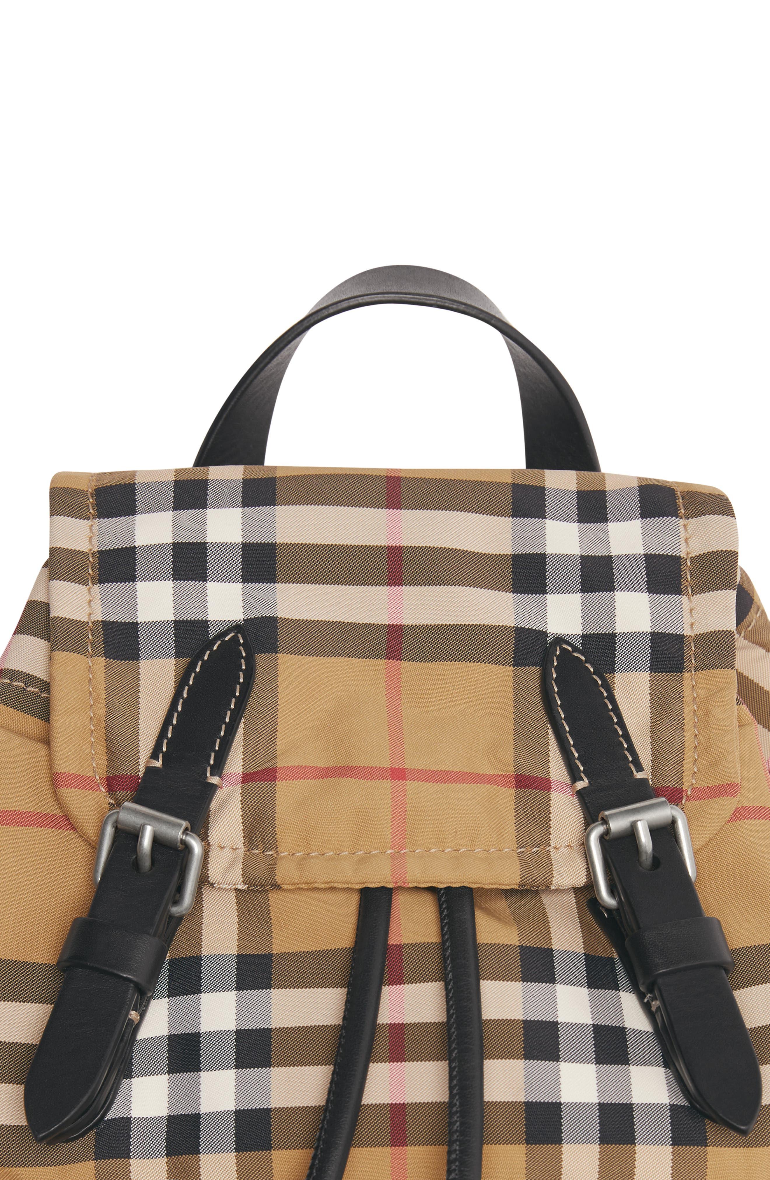 Small Rucksack Vintage Check Nylon Backpack,                             Alternate thumbnail 5, color,                             ANTIQUE YELLOW/ BLACK