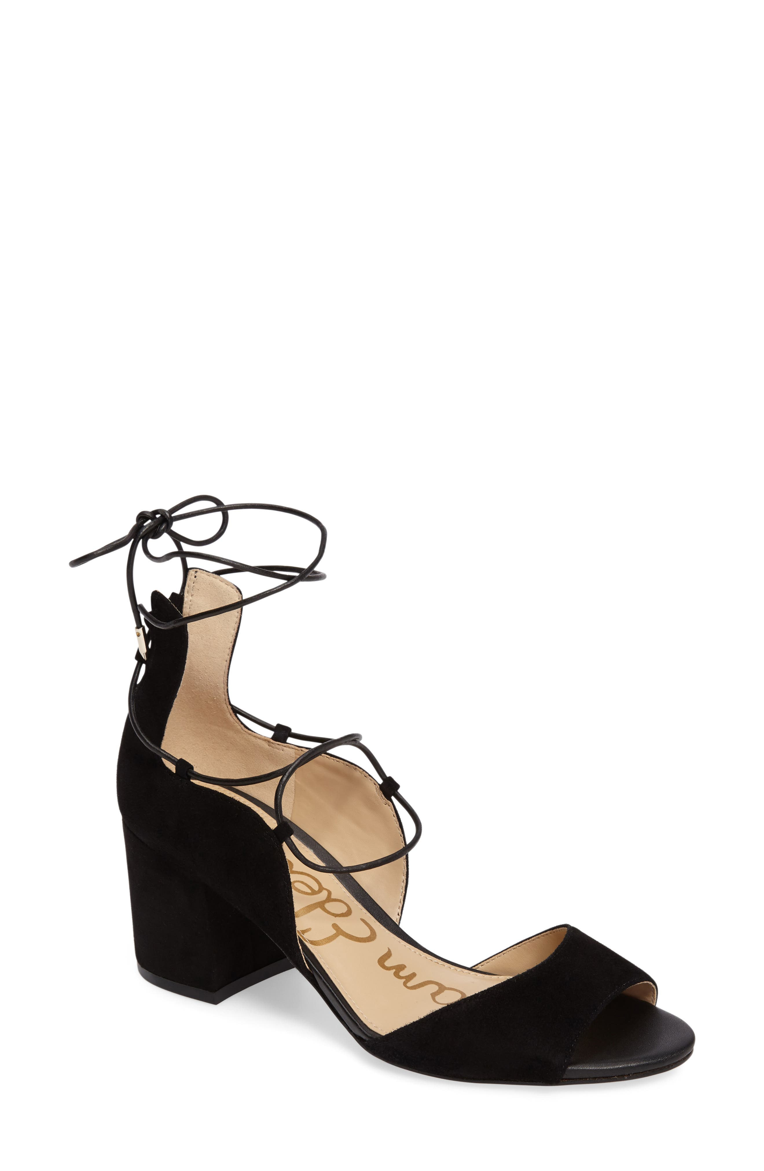 Serene Lace-Up Sandal,                         Main,                         color, 001