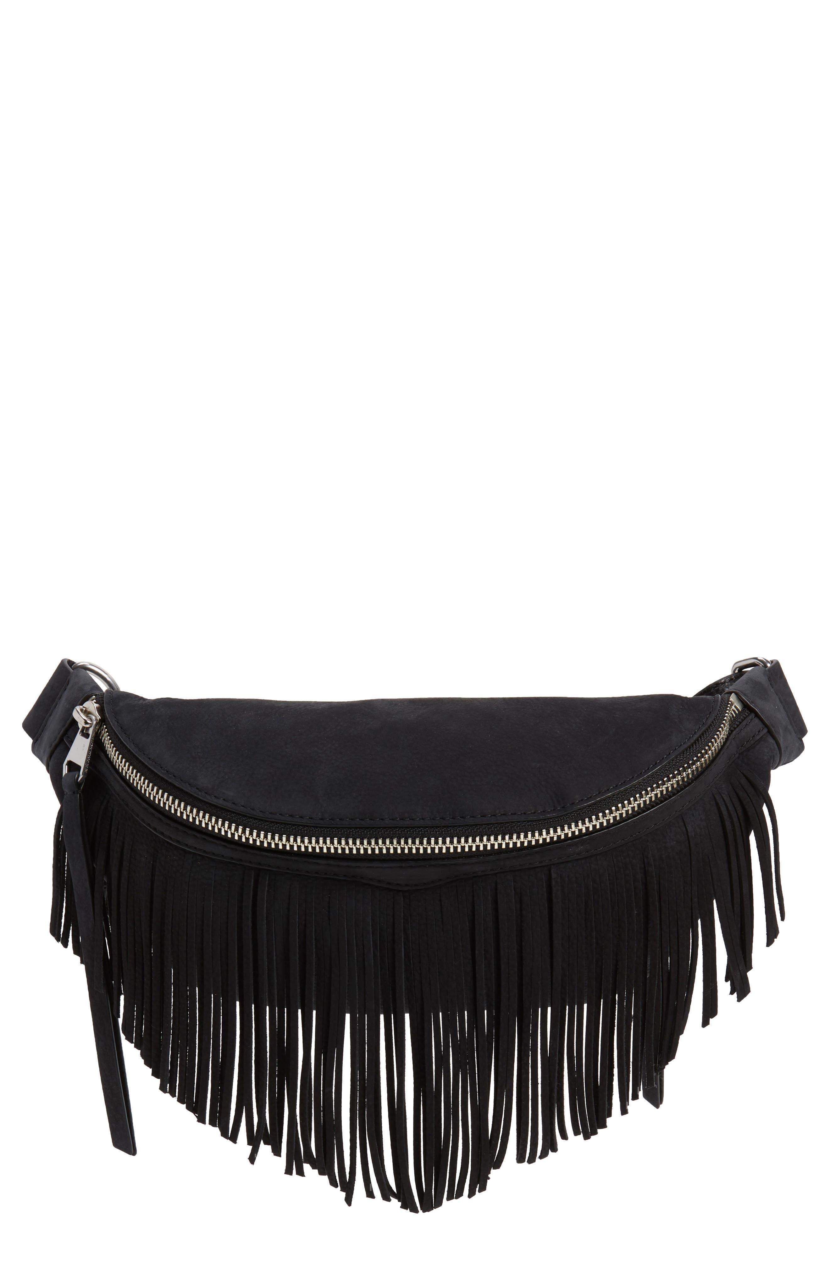 Bree Fringed Belt Bag,                         Main,                         color, 001