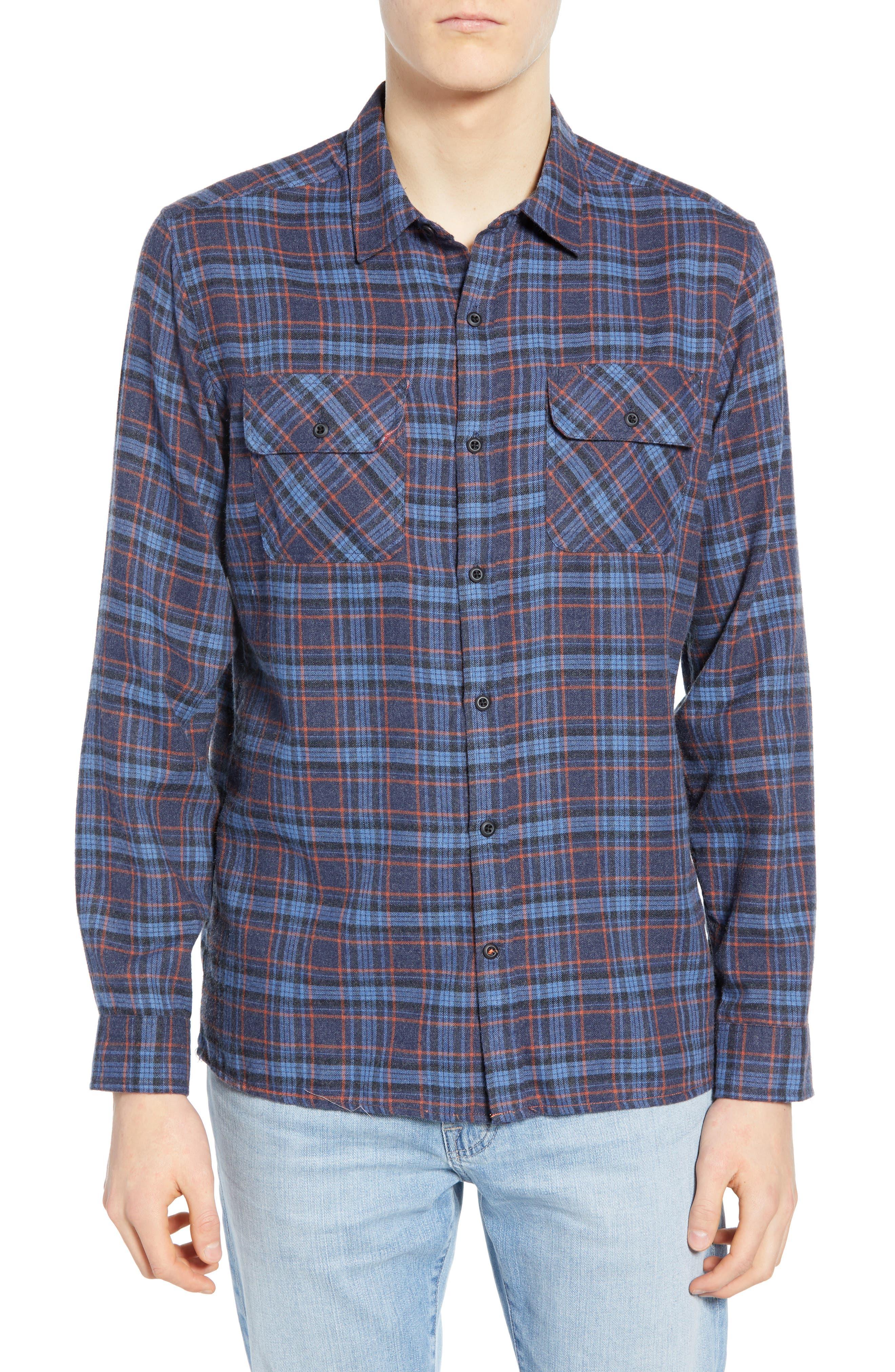 Walker Plaid Flannel Shirt, Main, color, OIL GREY