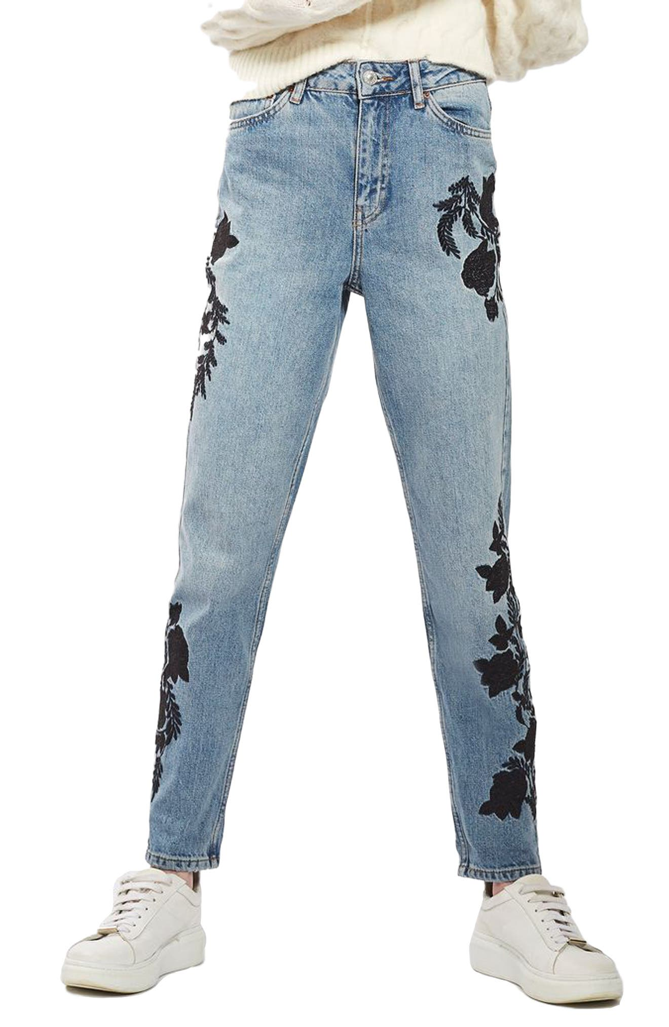 Embroidered Mom Jeans,                             Main thumbnail 1, color,                             420