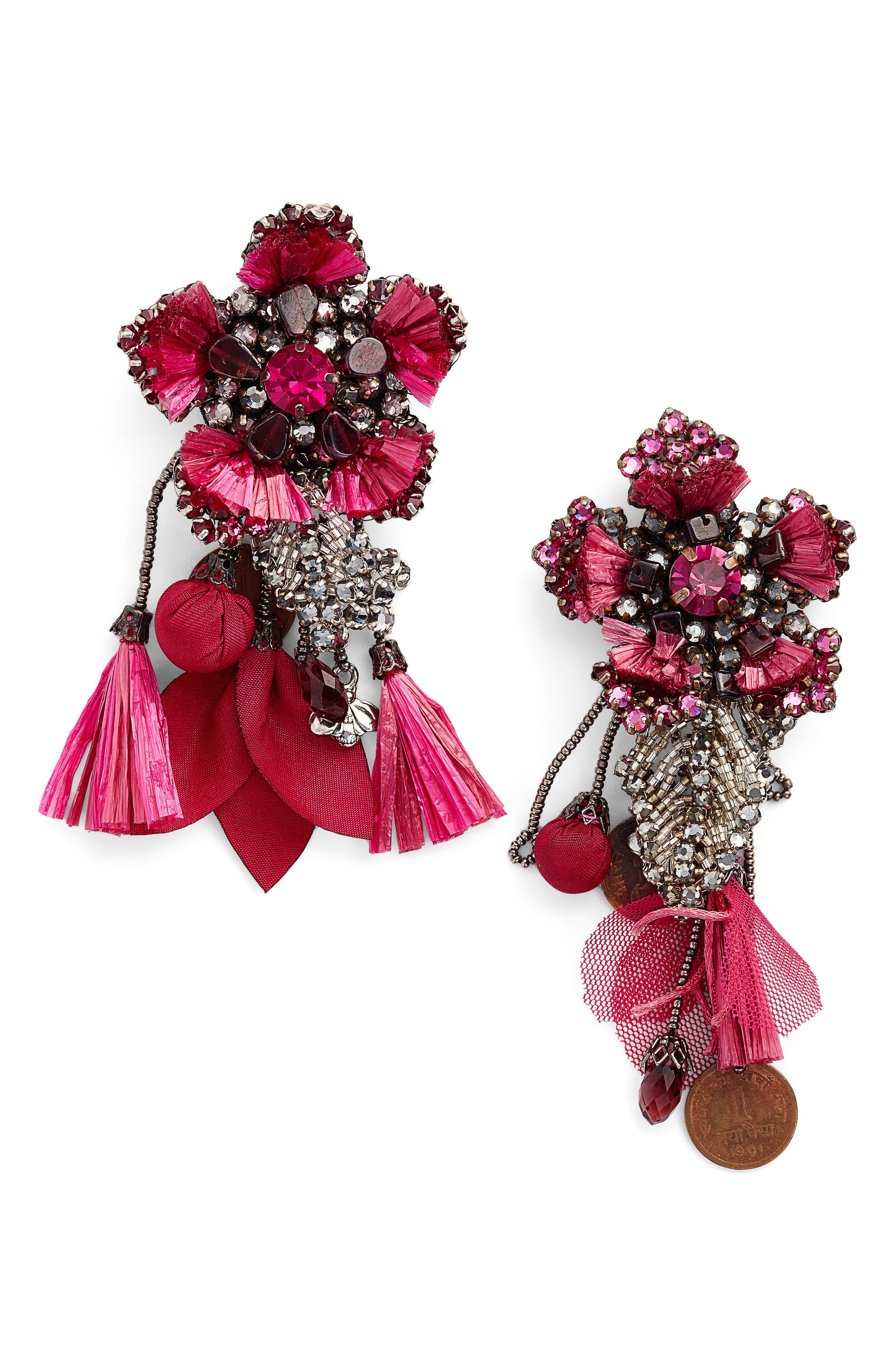 Peony Drop Earrings,                         Main,                         color, PINK