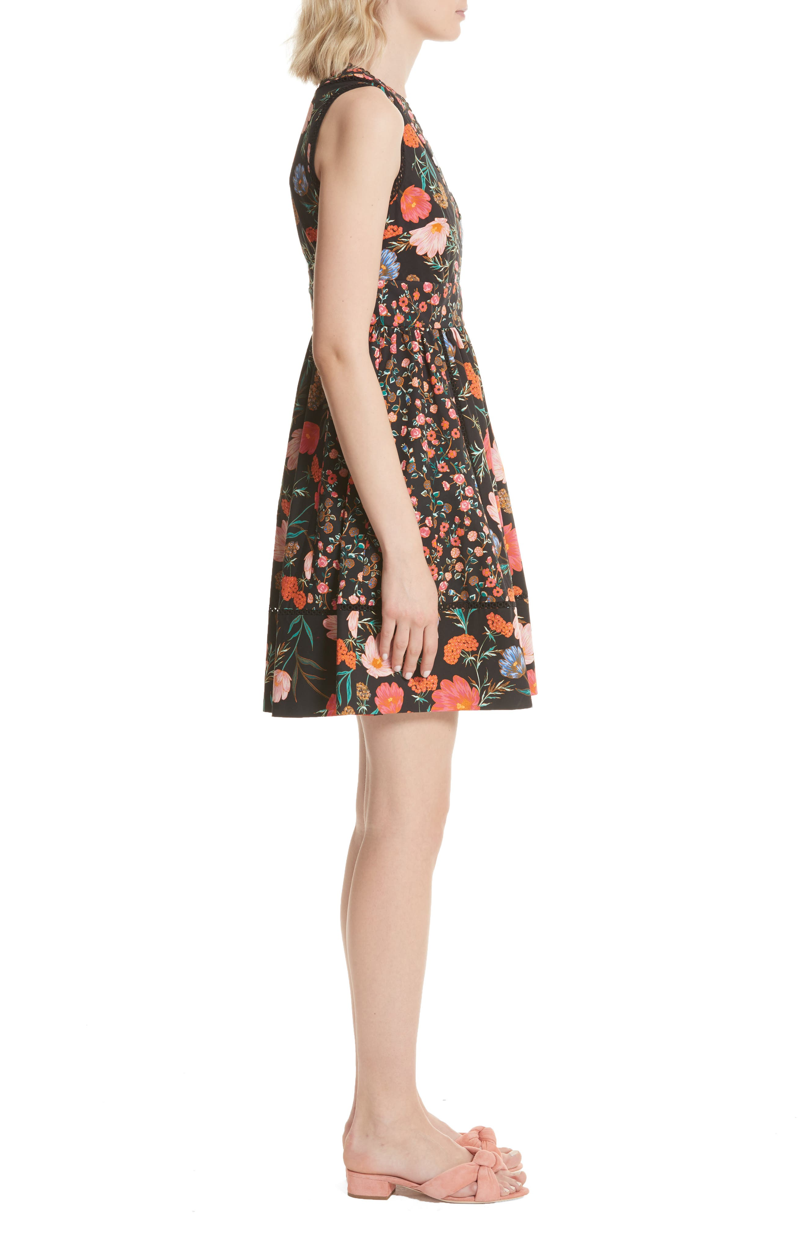 blossom sleeveless fit & flare dress,                             Alternate thumbnail 3, color,                             001