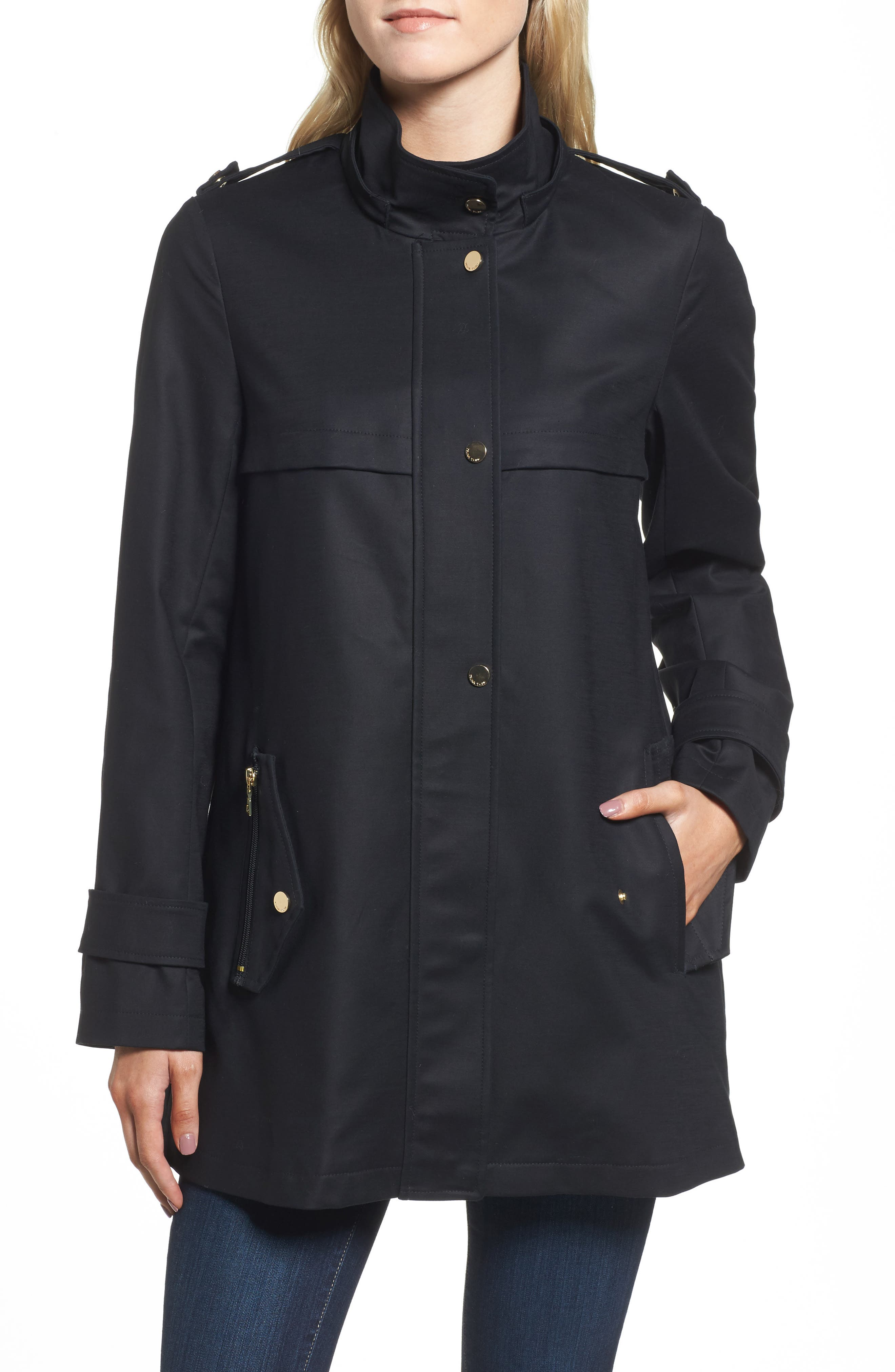 A-Line Rain Jacket,                             Alternate thumbnail 4, color,                             001