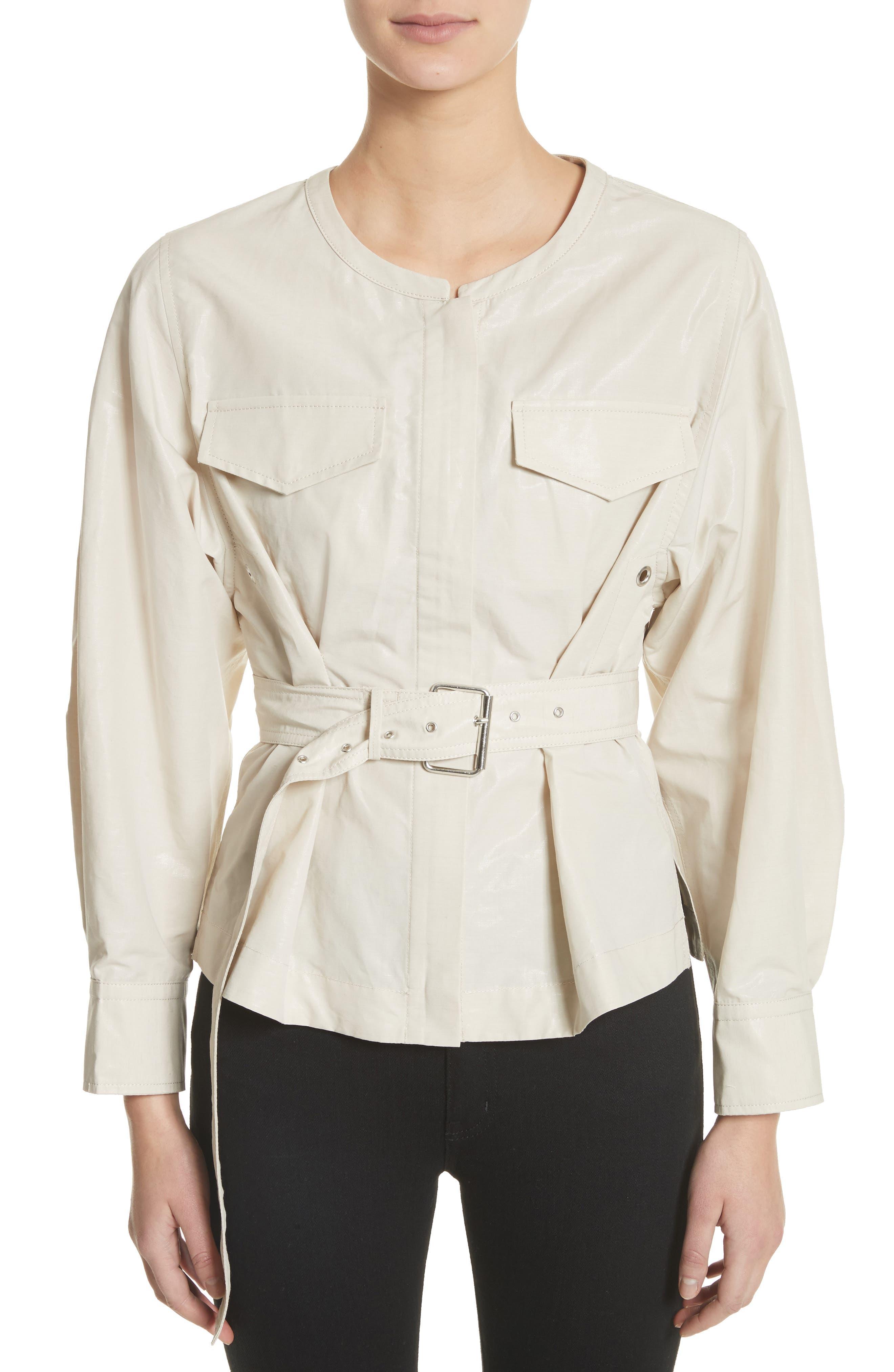 Hacene Cotton & Linen Crop Jacket,                             Main thumbnail 1, color,                             250