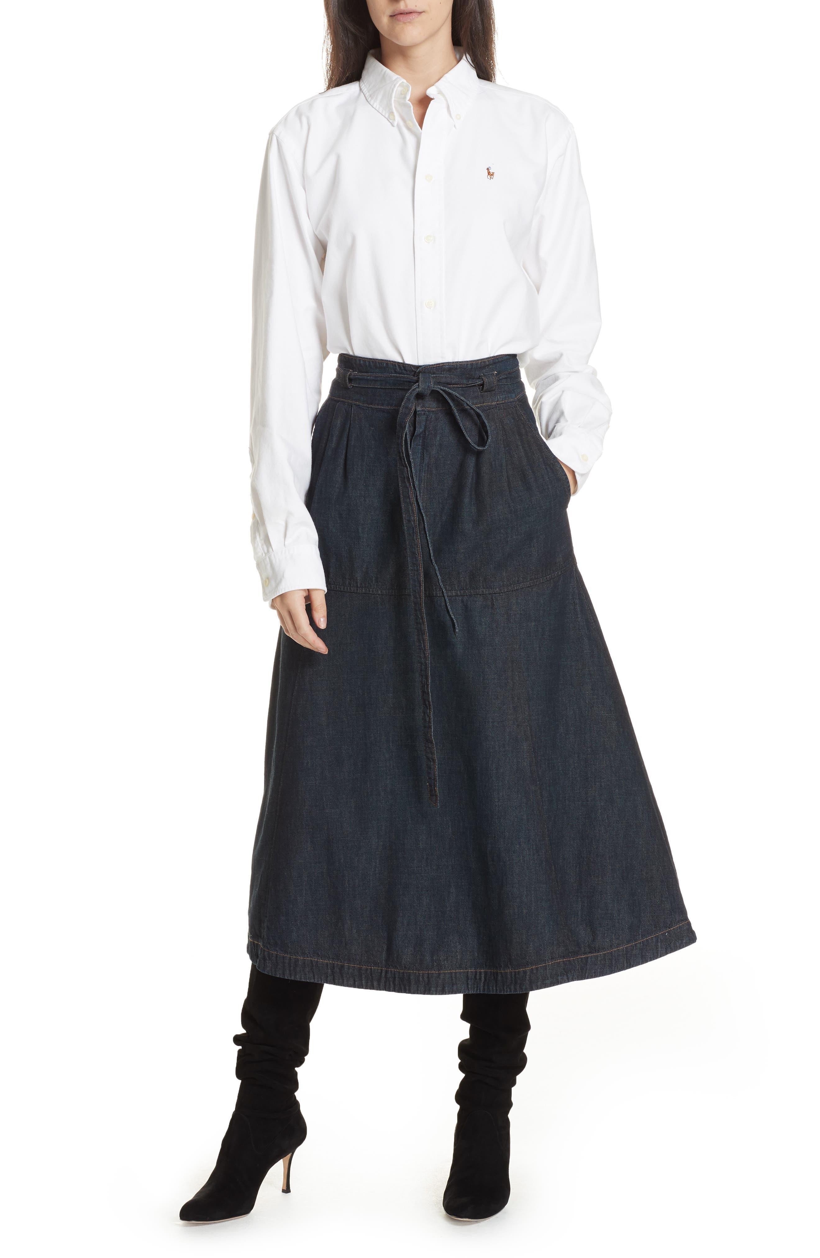 Denim Midi Skirt,                             Alternate thumbnail 7, color,                             DARK INDIGO