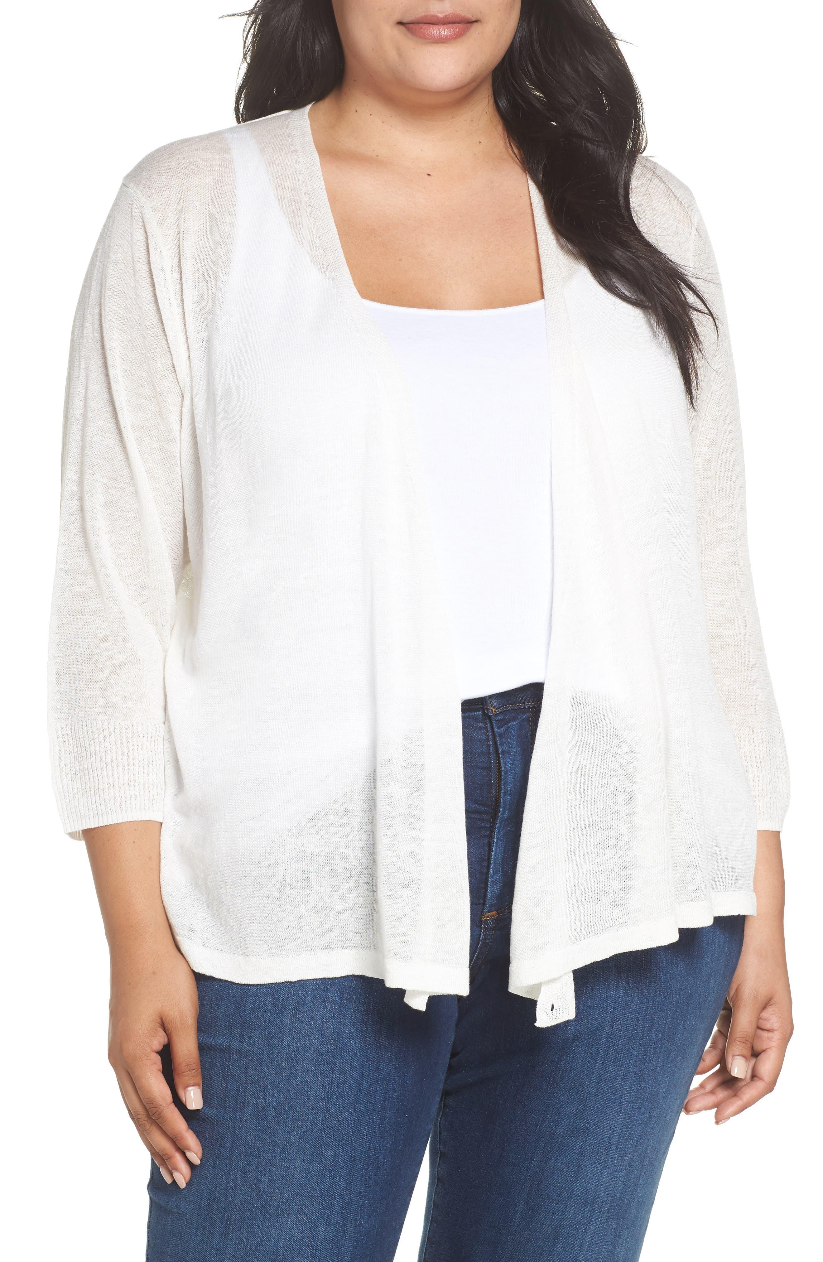 '4-Way' Three Quarter Sleeve Convertible Cardigan,                         Main,                         color, MILK WHITE