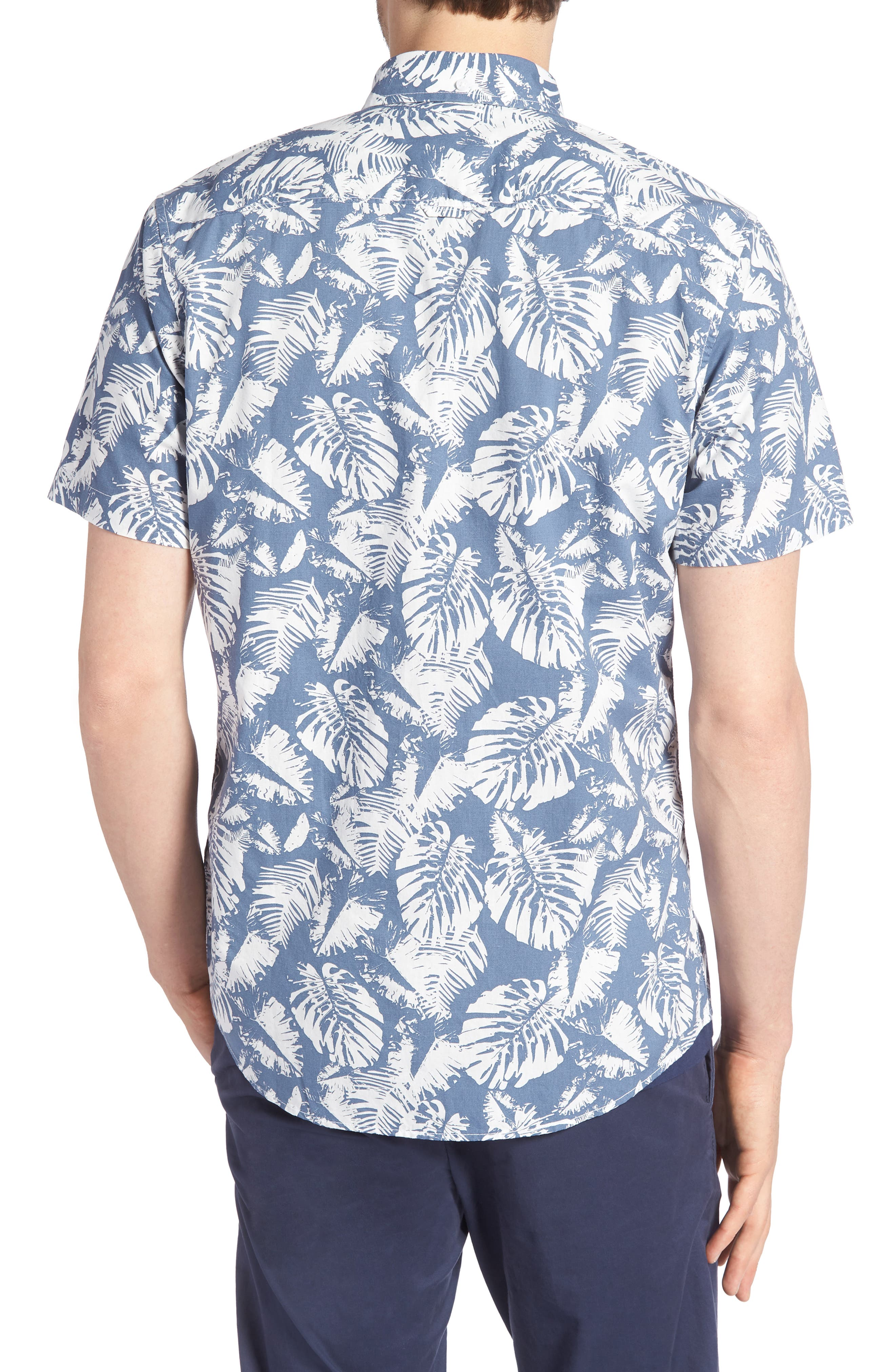 Trim Fit Palm Print Sport Shirt,                             Alternate thumbnail 2, color,                             410