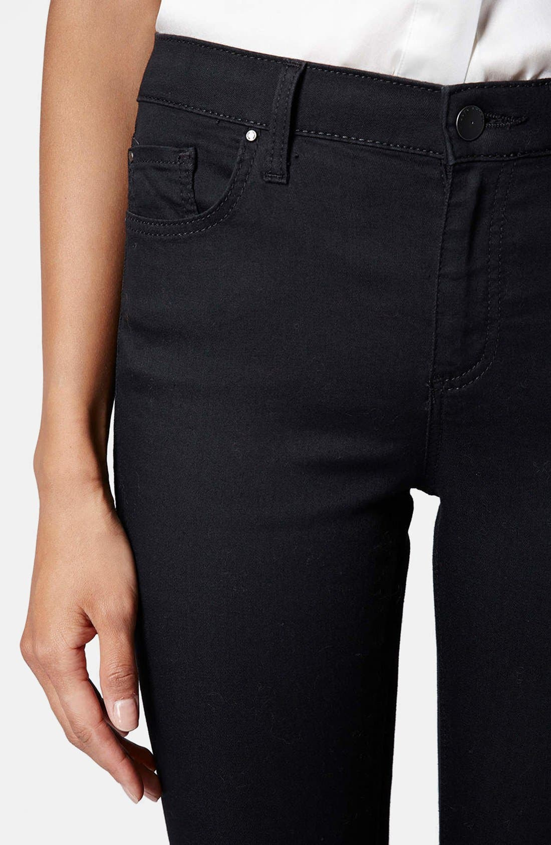 Moto 'Leigh' Mid Rise Skinny Jeans,                             Alternate thumbnail 4, color,                             001