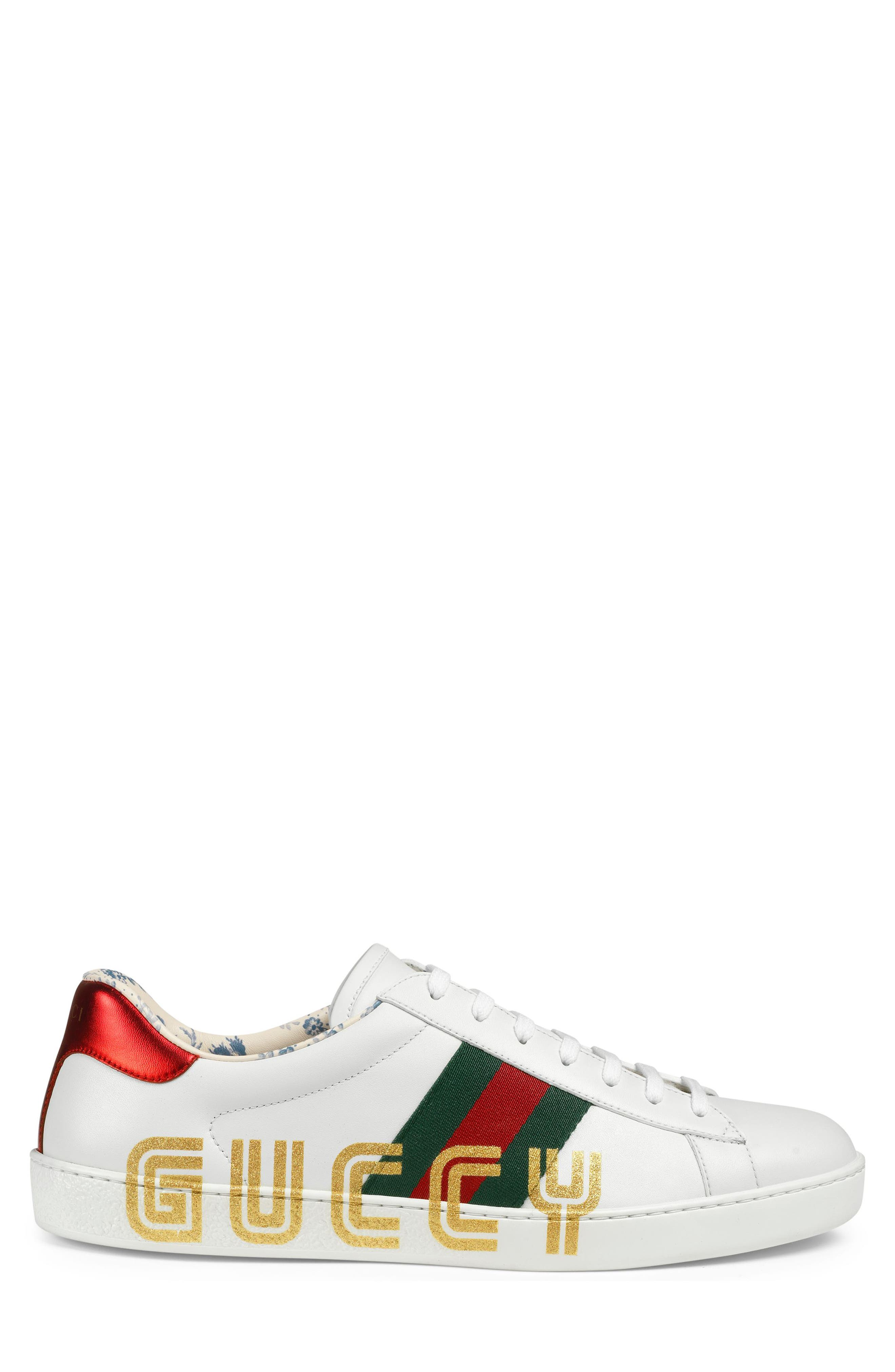 New Ace Guccy Print Sneaker,                             Alternate thumbnail 2, color,                             WHITE/ RED FLAME