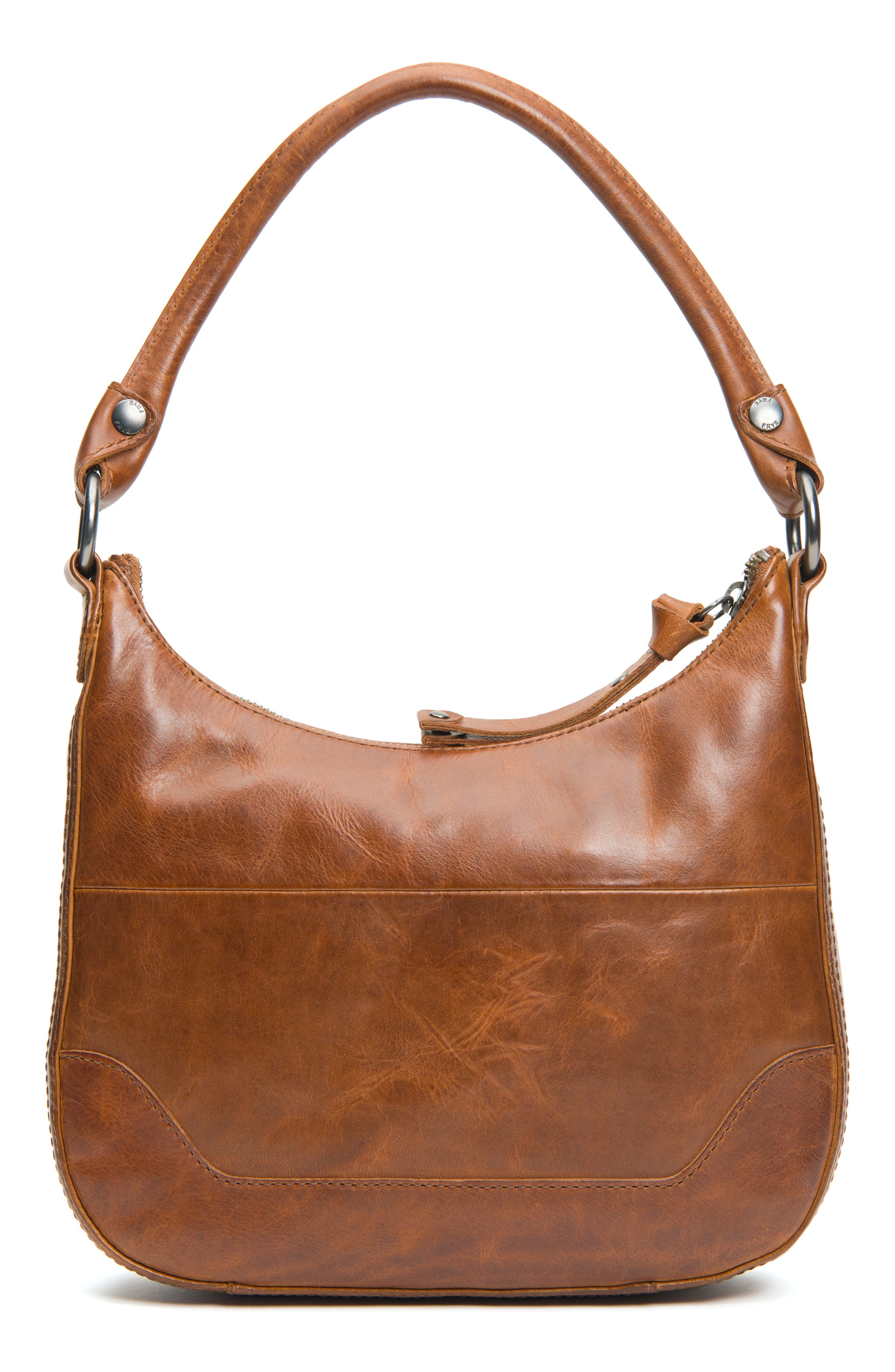 Small Melissa Leather Hobo Bag,                             Alternate thumbnail 3, color,                             COGNAC