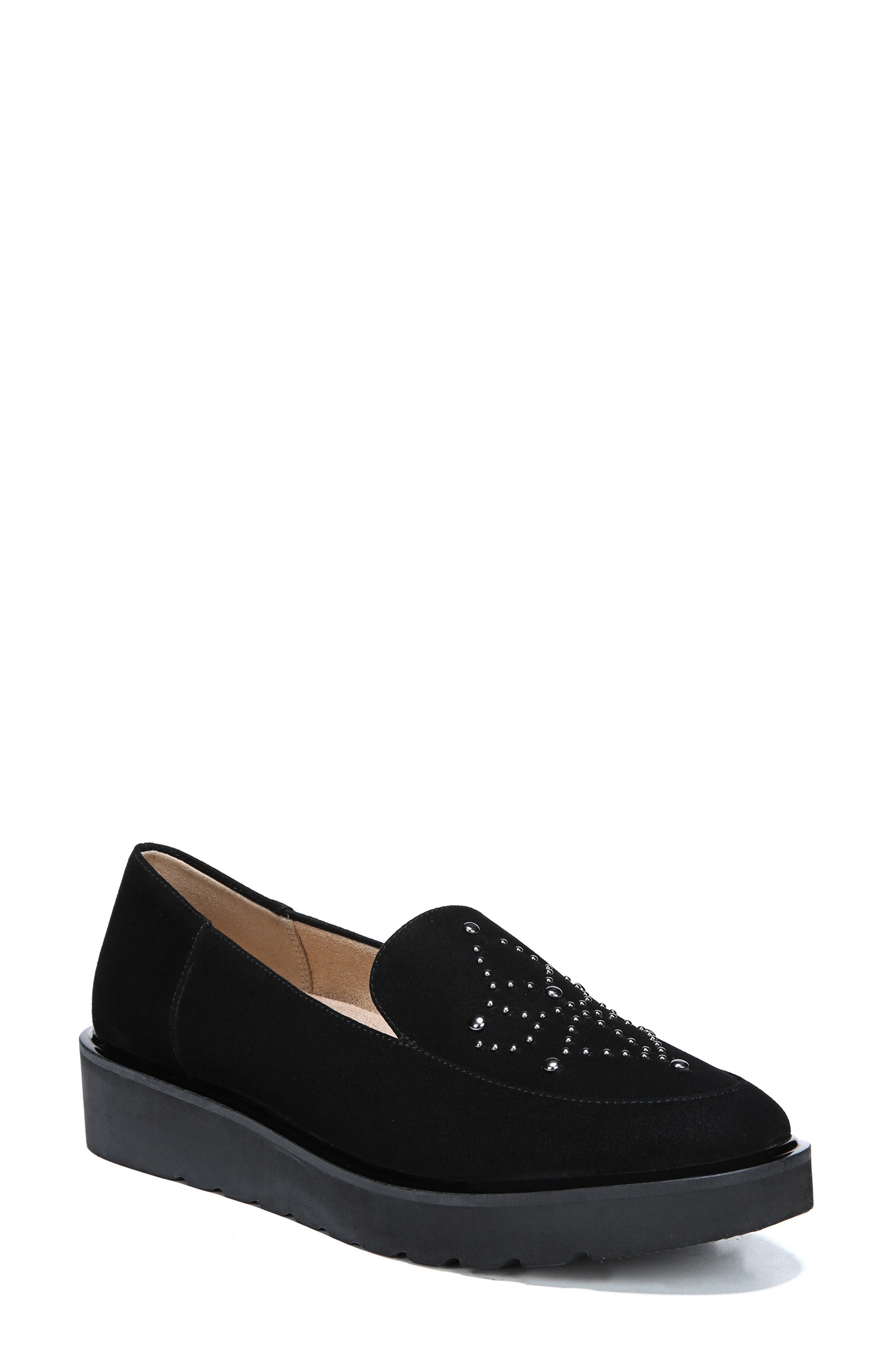 Andie Loafer,                             Main thumbnail 1, color,                             BLACK SUEDE