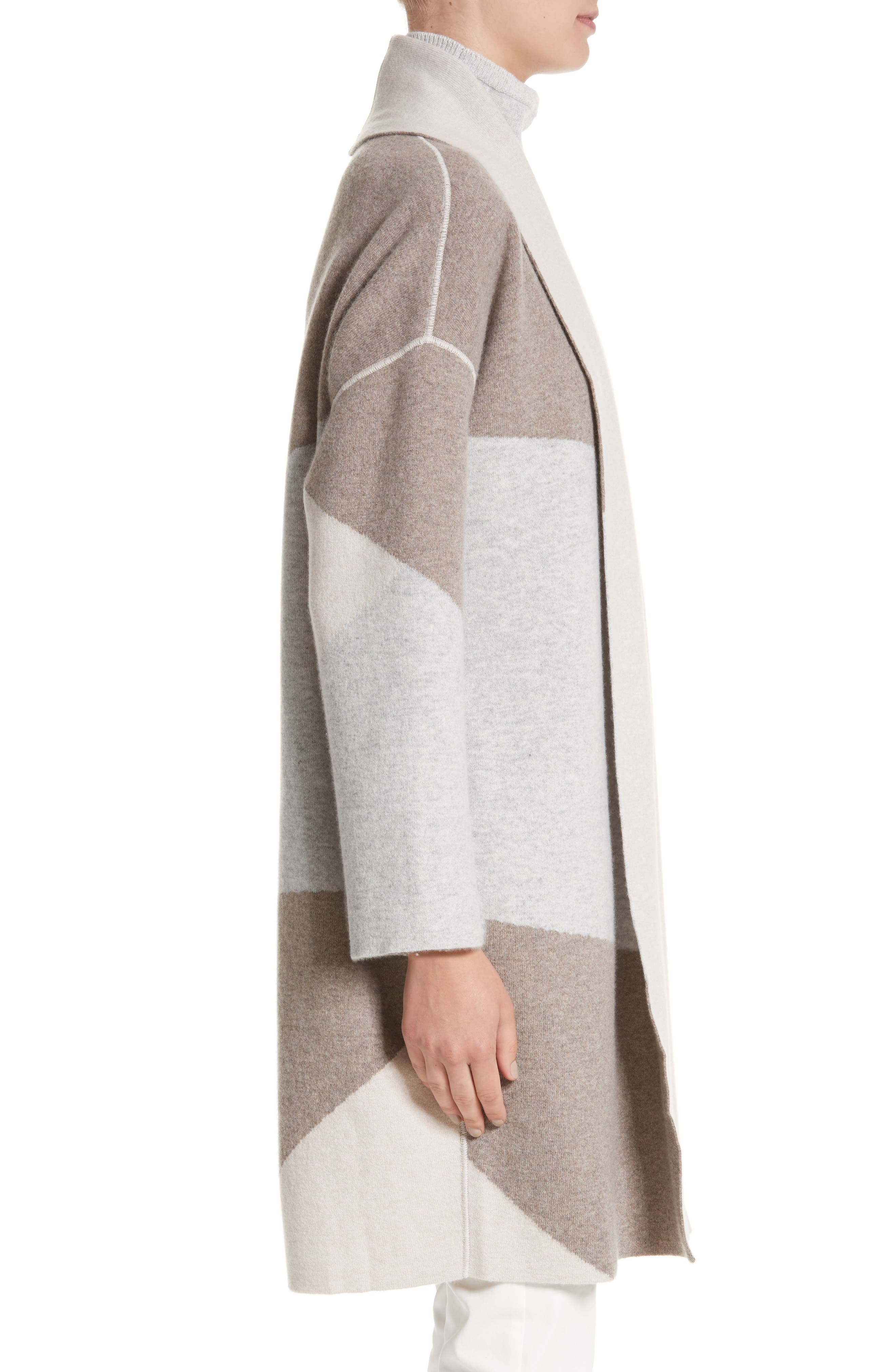 Stretch Cashmere Reversible Felted Colorblock Cardigan,                             Alternate thumbnail 4, color,                             020