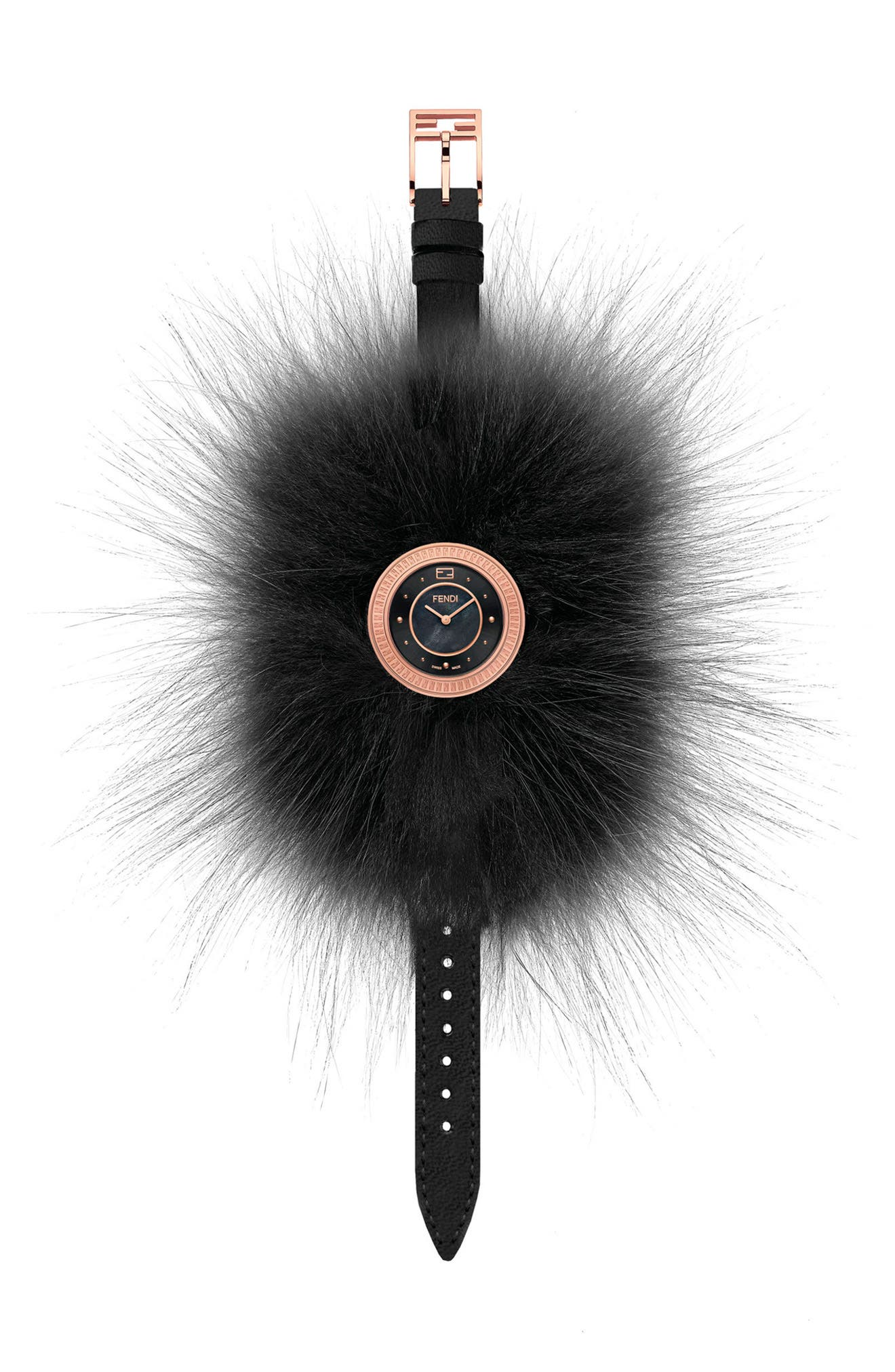 My Way Genuine Fox Fur Leather Strap Watch, 28mm,                             Alternate thumbnail 2, color,                             BLACK/ BLACK MOP/ ROSE GOLD