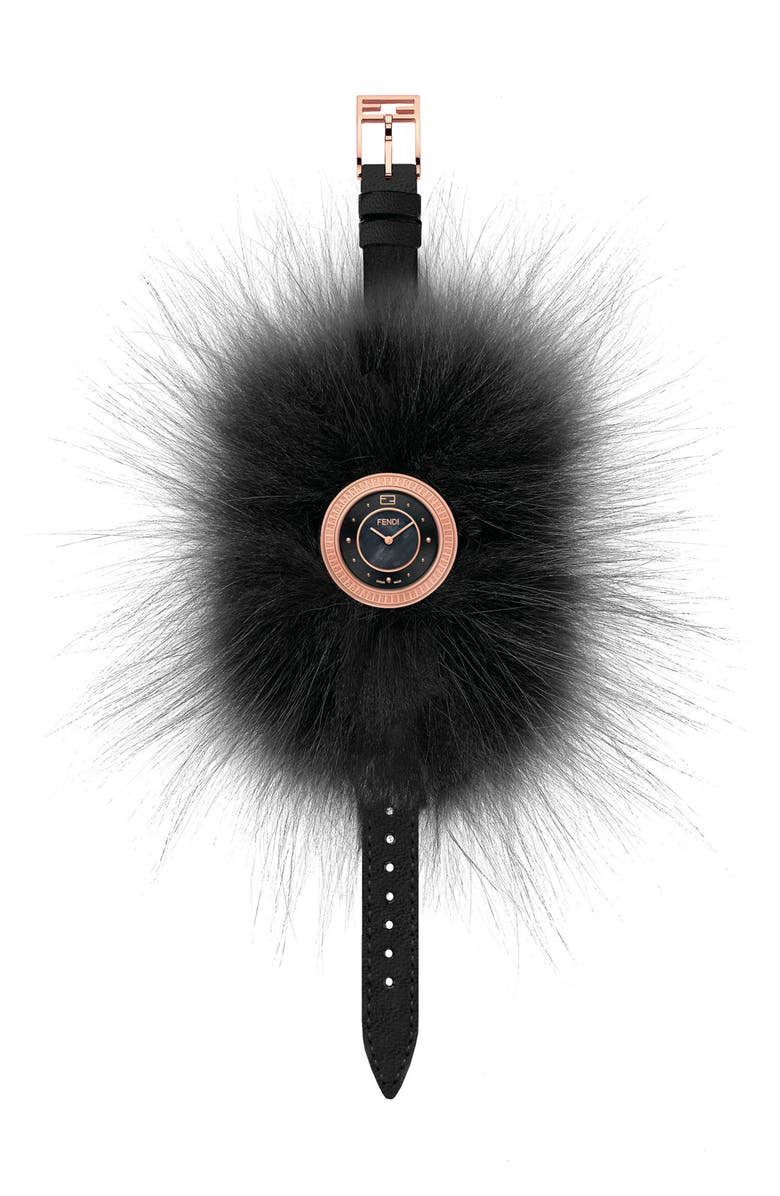 Fendi My Way Genuine Fox Fur Leather Strap Watch, 28mm   Nordstrom