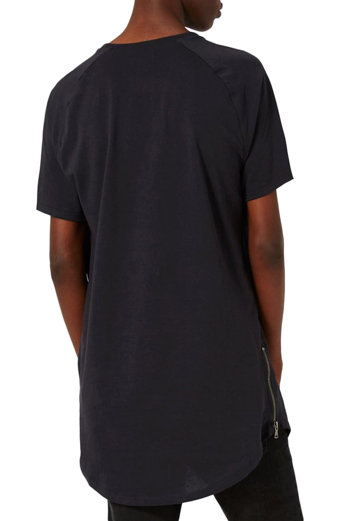Longline T-Shirt with Side Zips,                             Alternate thumbnail 2, color,                             001