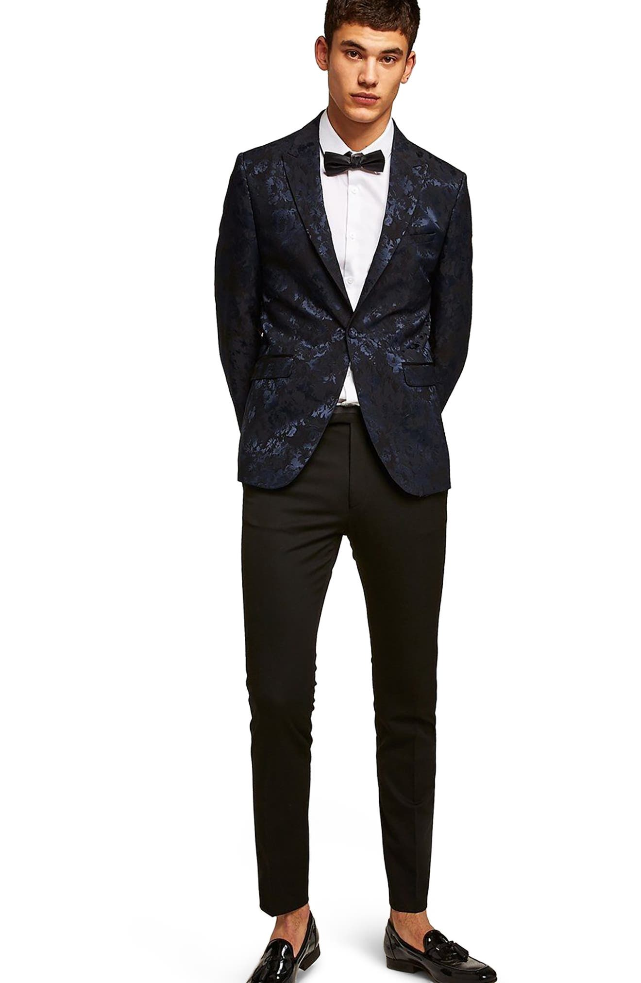 Skinny Fit Floral Jacquard Suit Jacket,                             Alternate thumbnail 5, color,                             401