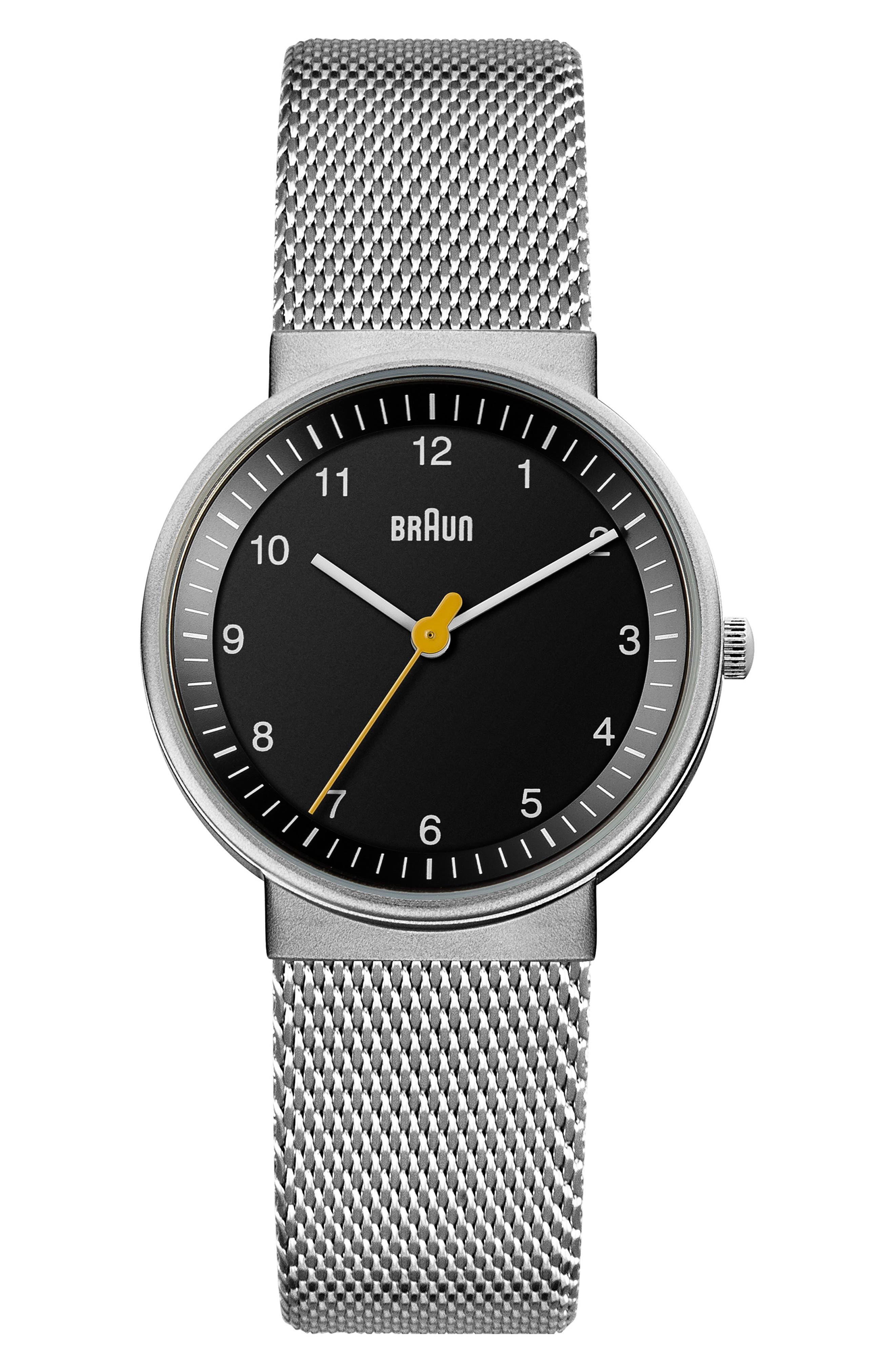 BRAUN Classic Mesh Bracelet Watch, 33Mm in Silver/ Black/ Silver