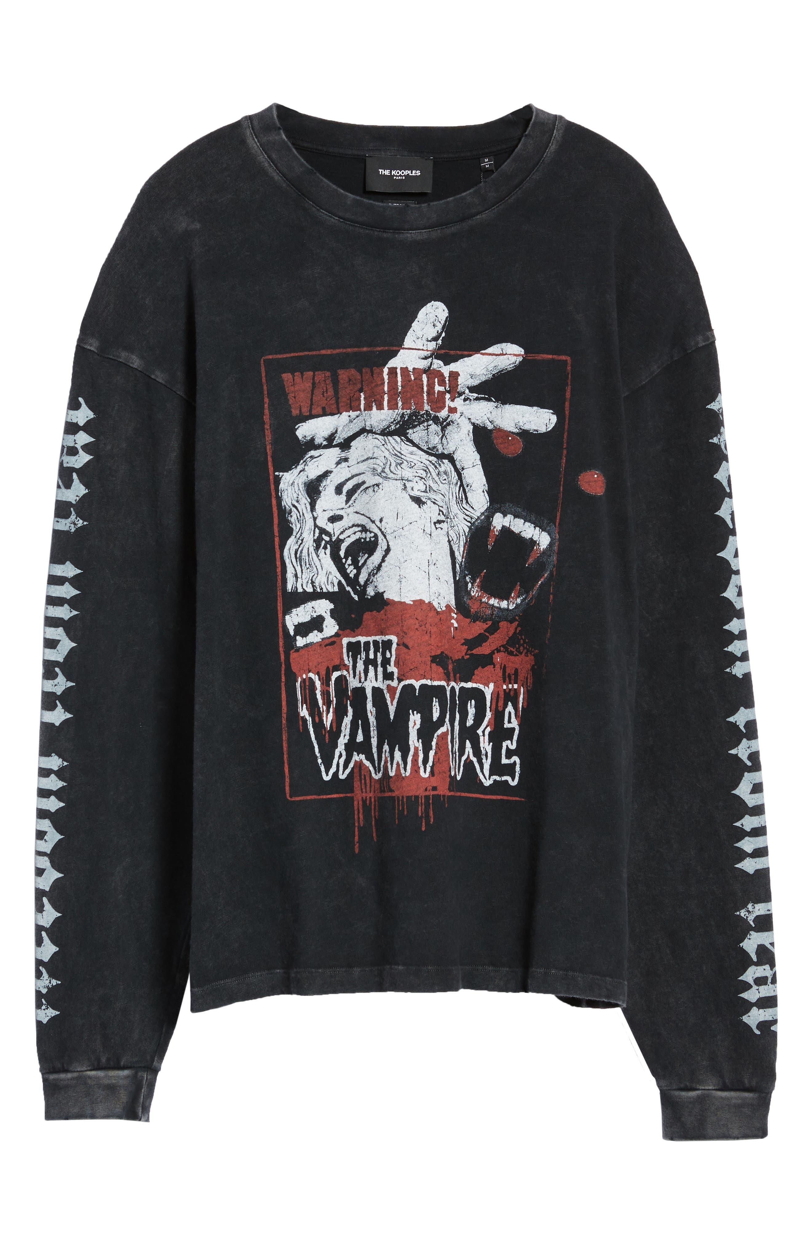 Vampire Graphic Long Sleeve T-Shirt,                             Alternate thumbnail 6, color,                             BLACK