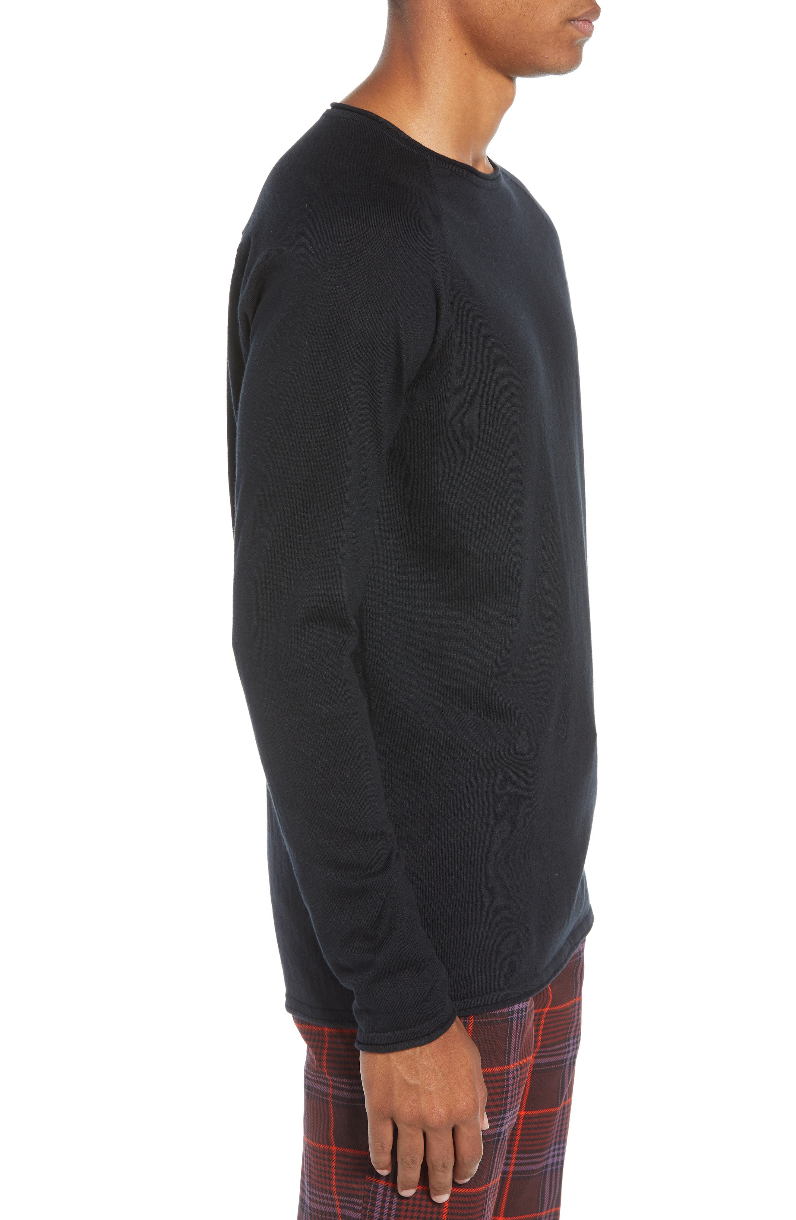 Crewneck Sweatshirt,                             Alternate thumbnail 3, color,                             BLACK