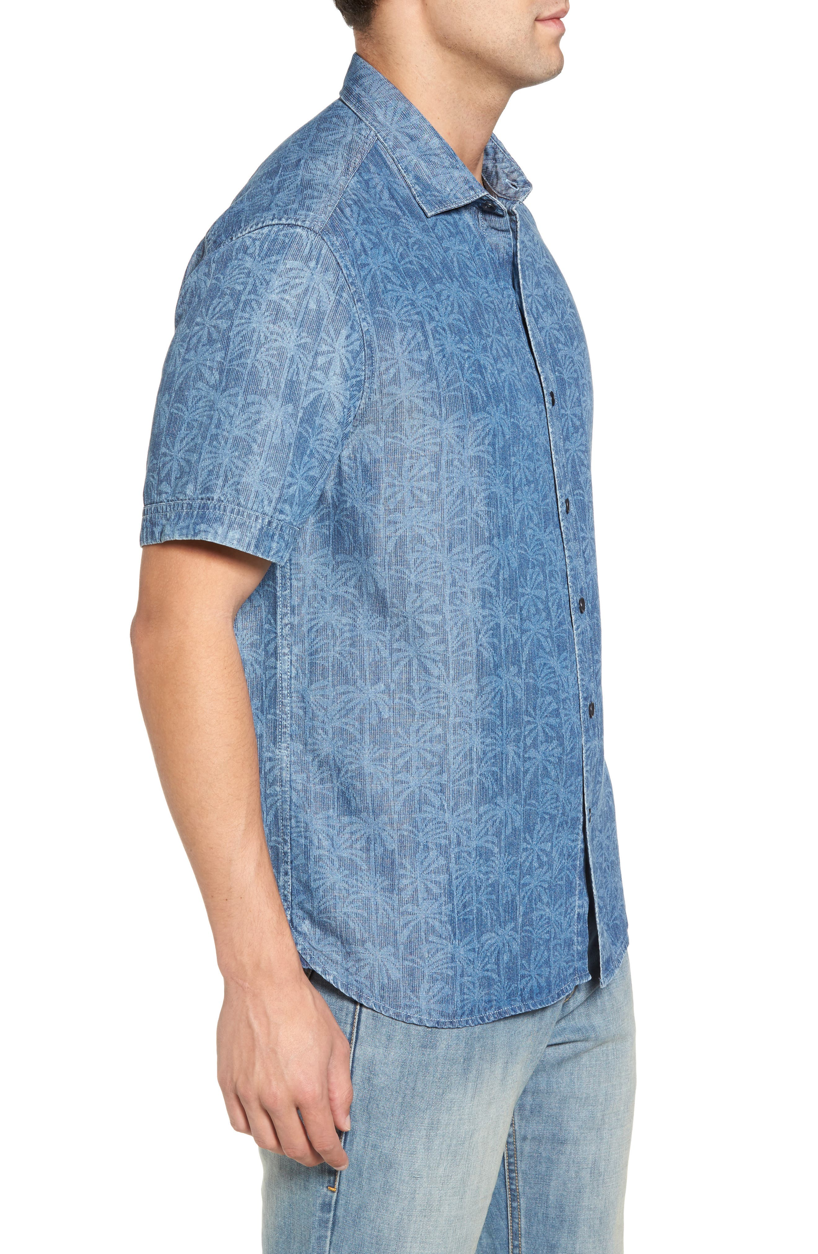 Block Party Palms Chambray Sport Shirt,                             Alternate thumbnail 3, color,                             400
