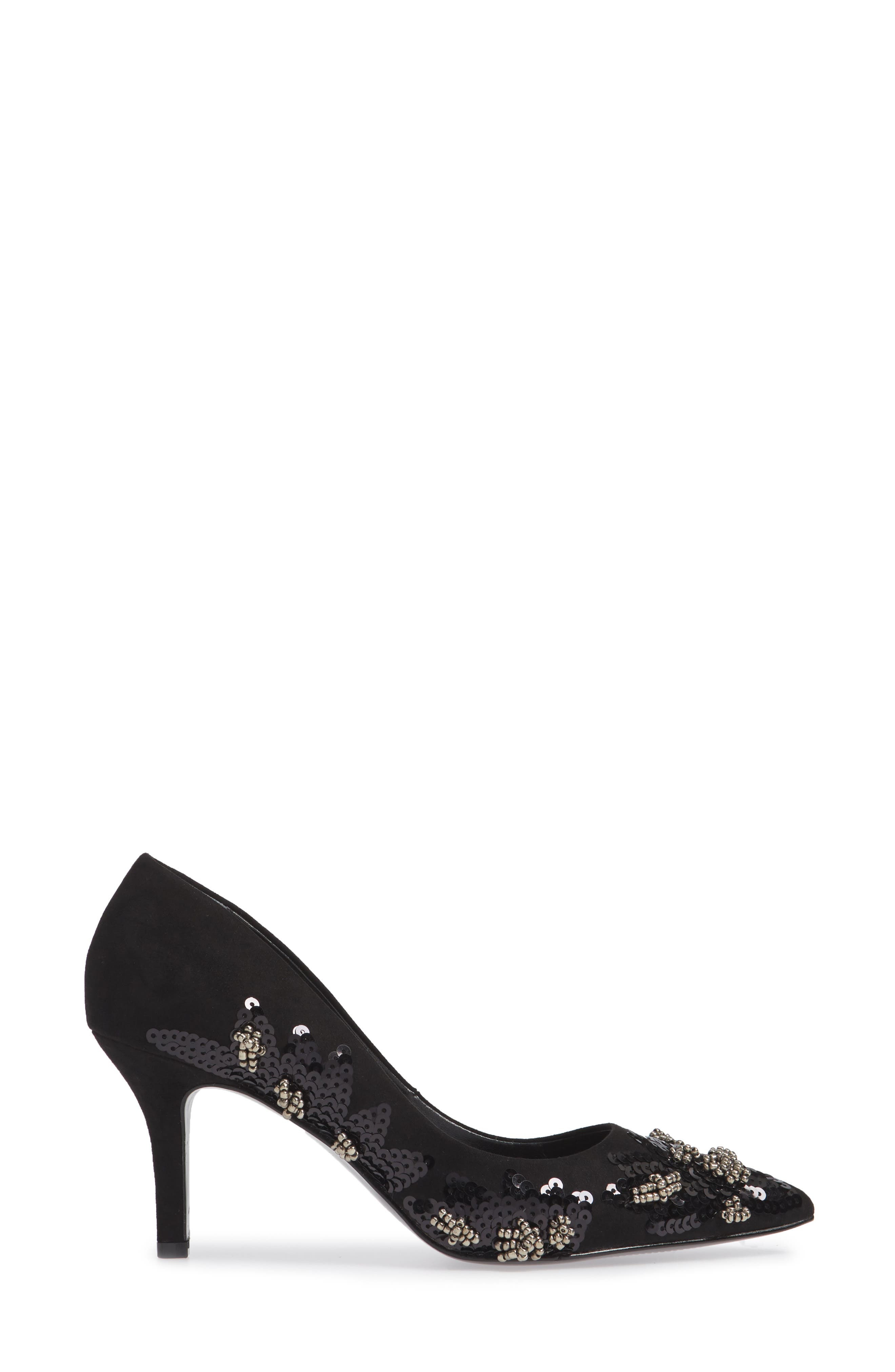 Sophie Embellished Pump,                             Alternate thumbnail 3, color,                             BLACK SUEDE