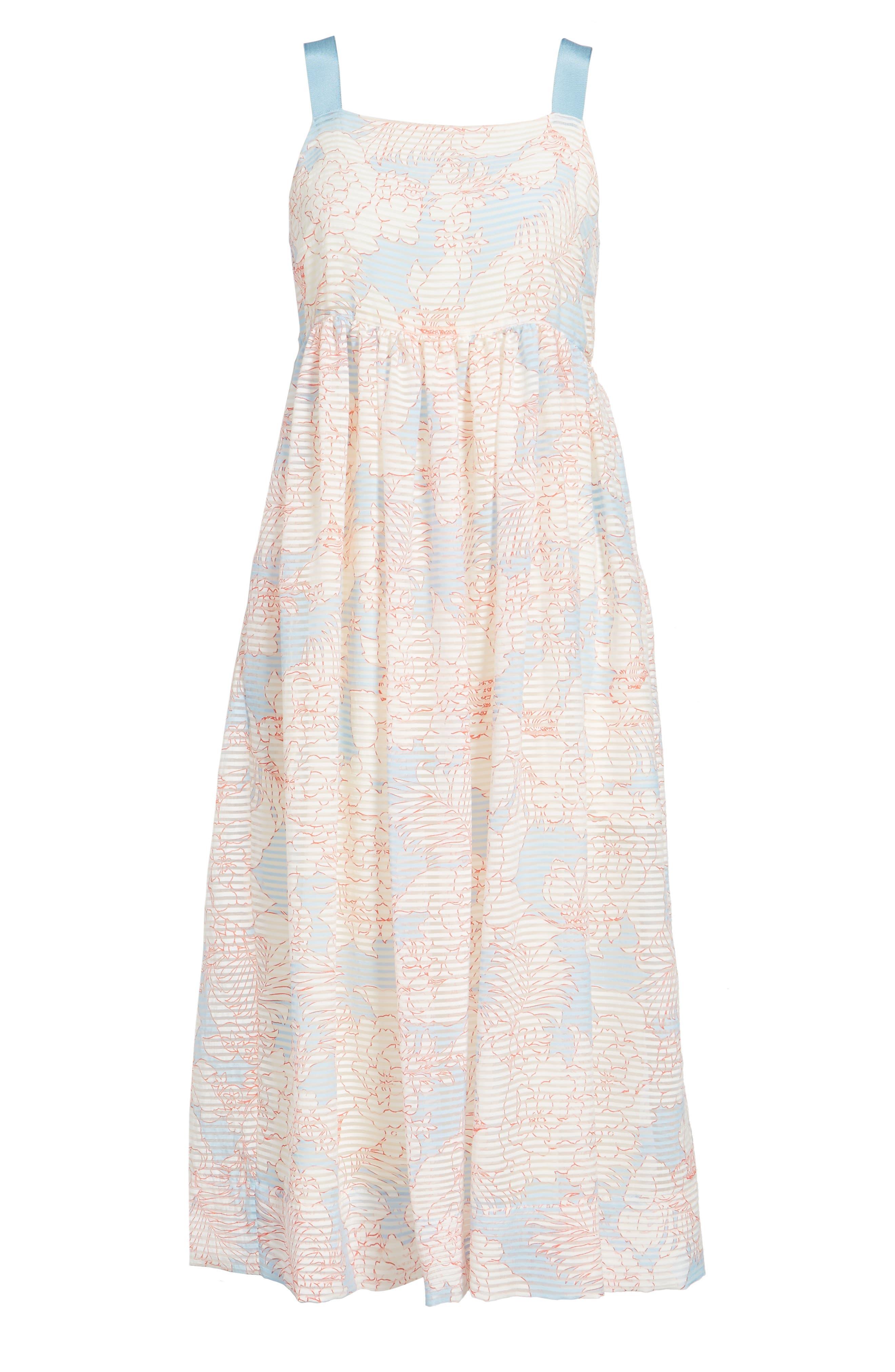 Bahamas Print Midi Dress,                             Alternate thumbnail 6, color,                             400