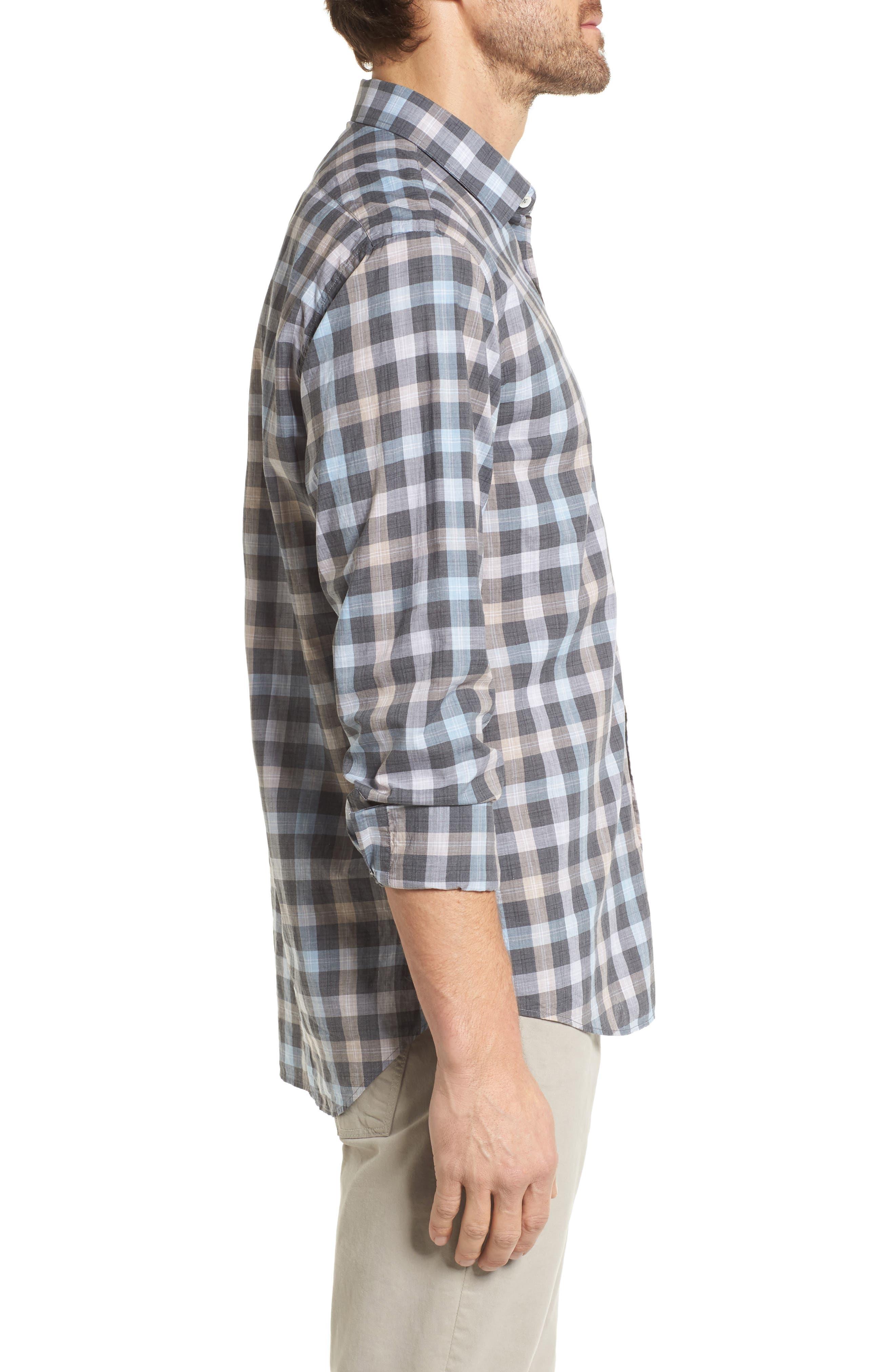 John T Standard Fit Check Sport Shirt,                             Alternate thumbnail 3, color,                             400