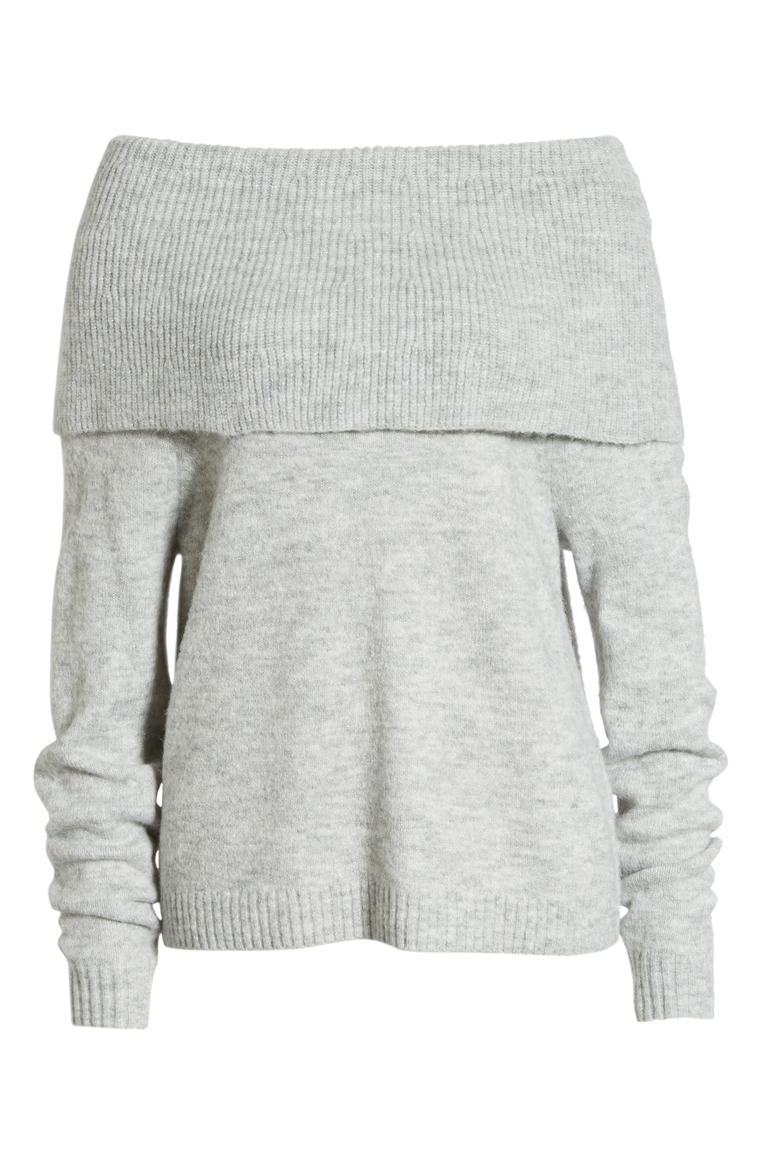Convertible Cowl Neck Sweater,                             Alternate thumbnail 7, color,                             GREY HEATHER