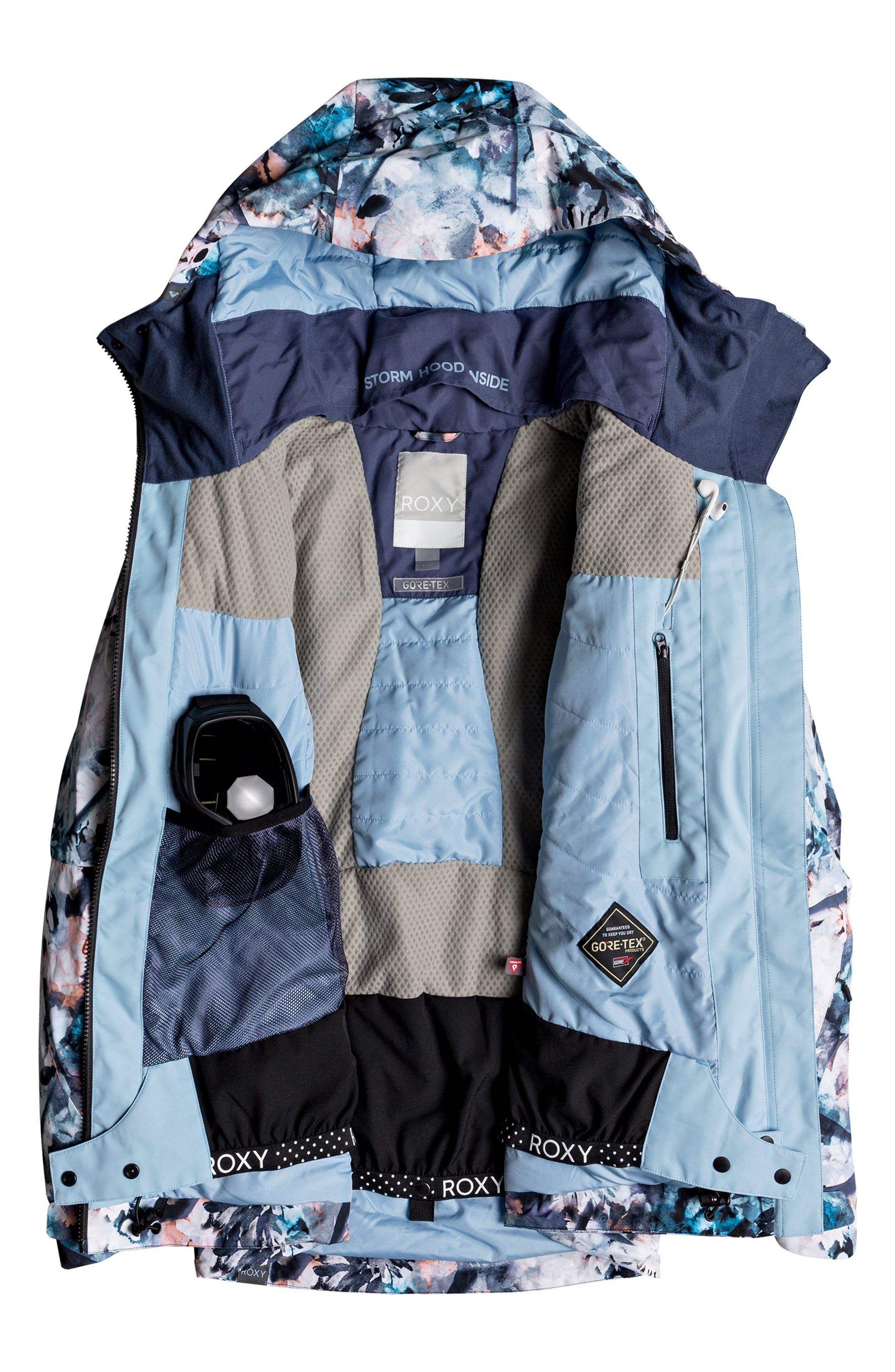 ROXY,                             Essence Tailored Fit 2 Layer Gore-Tex<sup>®</sup> PrimaLoft<sup>®</sup> Black Eco Insulated Snowsports Jacket,                             Alternate thumbnail 2, color,                             400