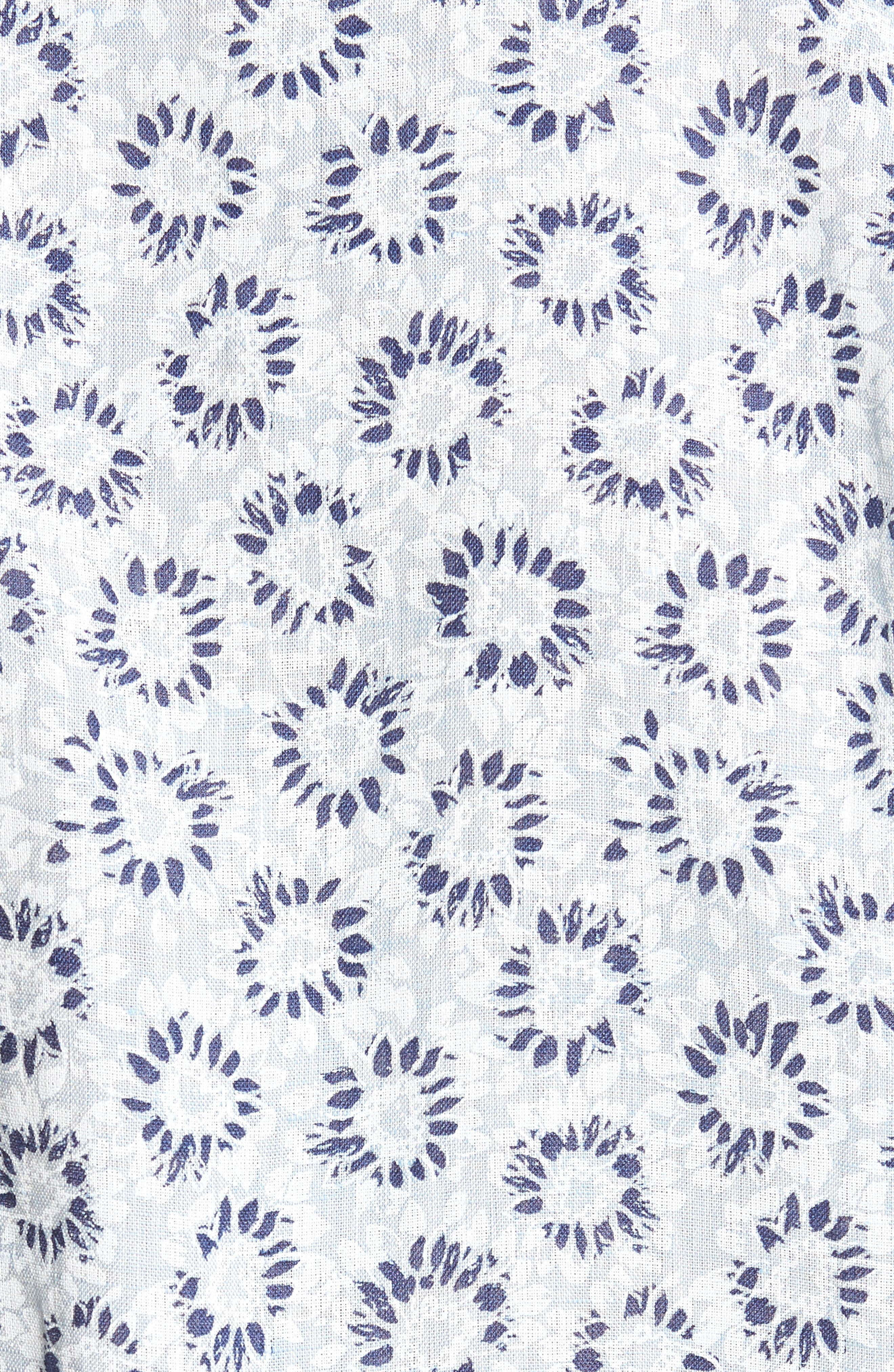 Alford Forest Floral Linen Sport Shirt,                             Alternate thumbnail 5, color,                             SKY