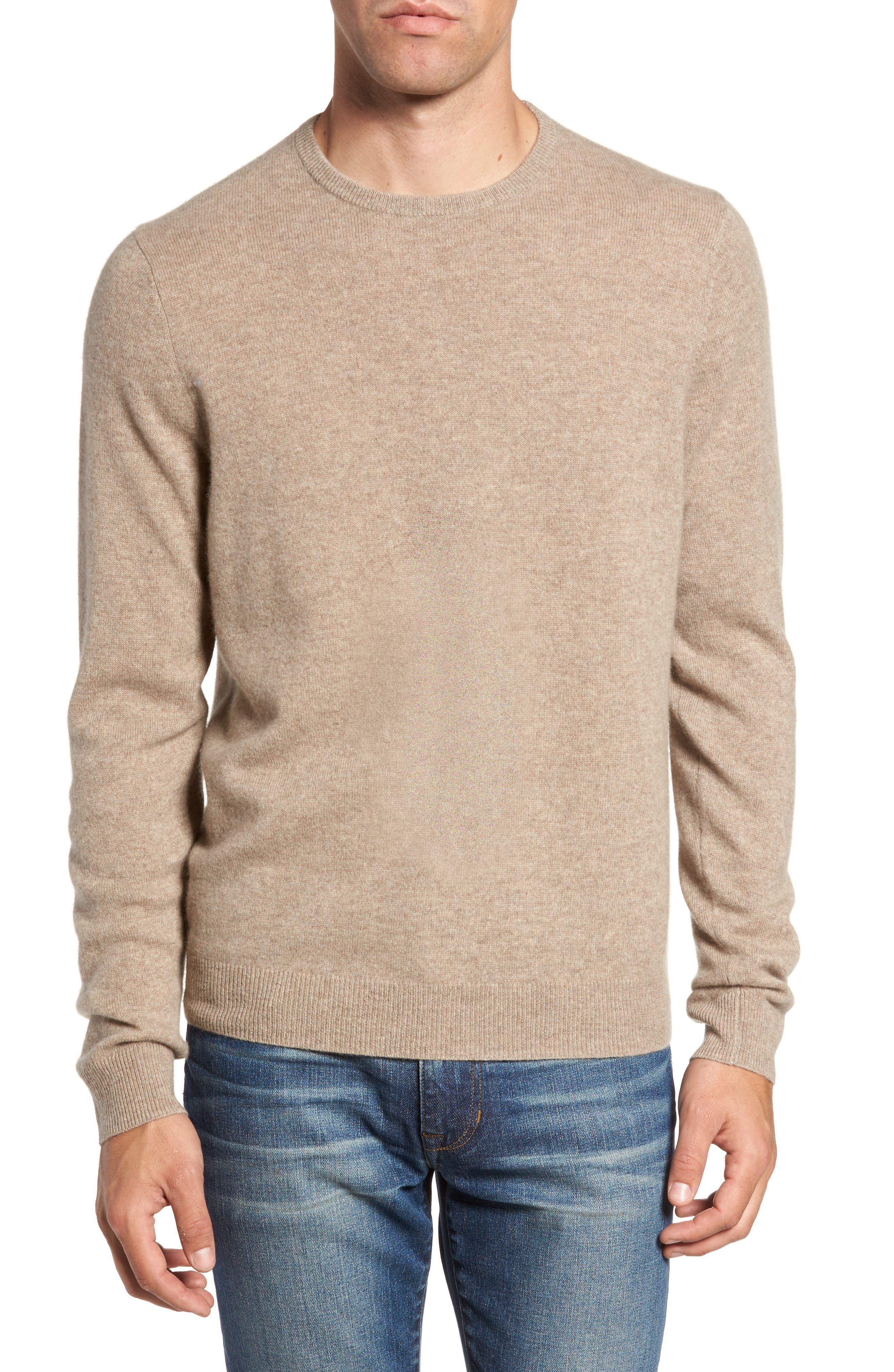 Nordstrom Shop Cashmere Crewneck Sweater, Brown