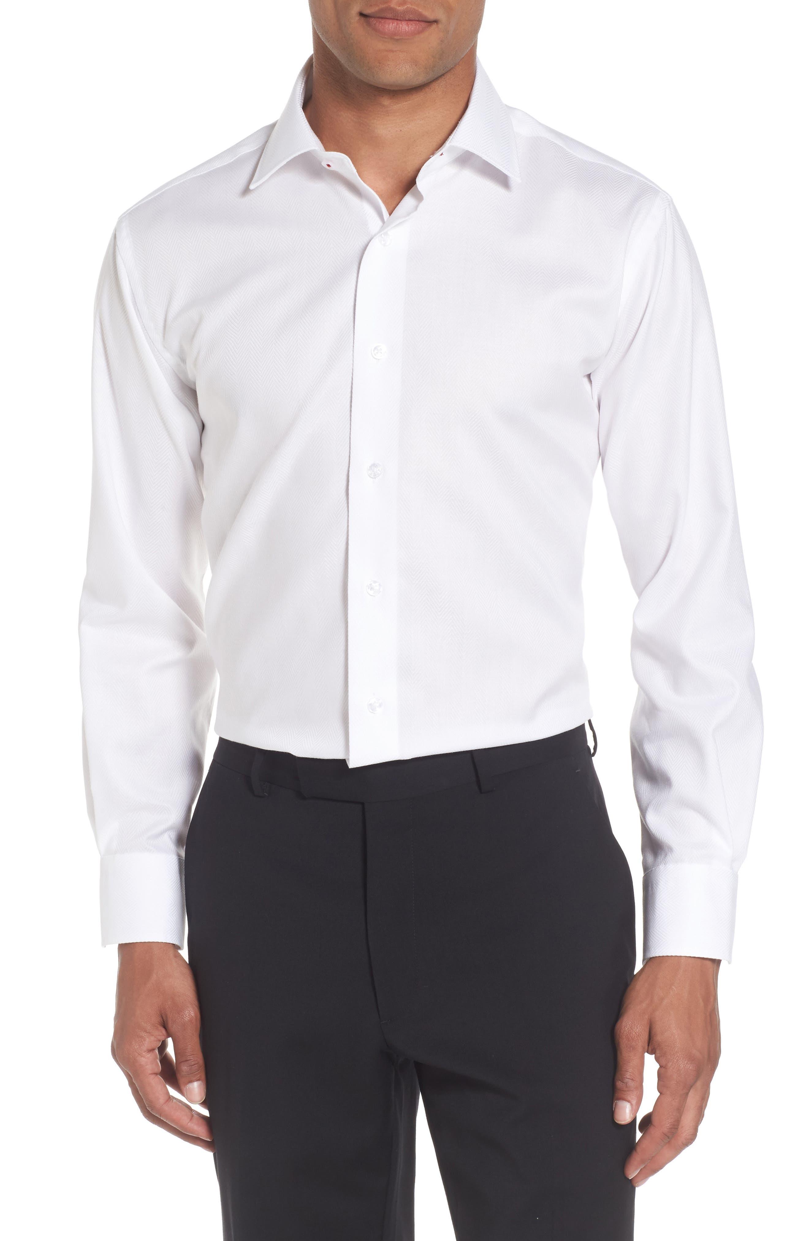 Trim Fit Herringbone Dress Shirt,                             Main thumbnail 1, color,