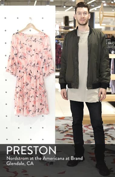 Floral Bell Sleeve Chiffon Dress, sales video thumbnail