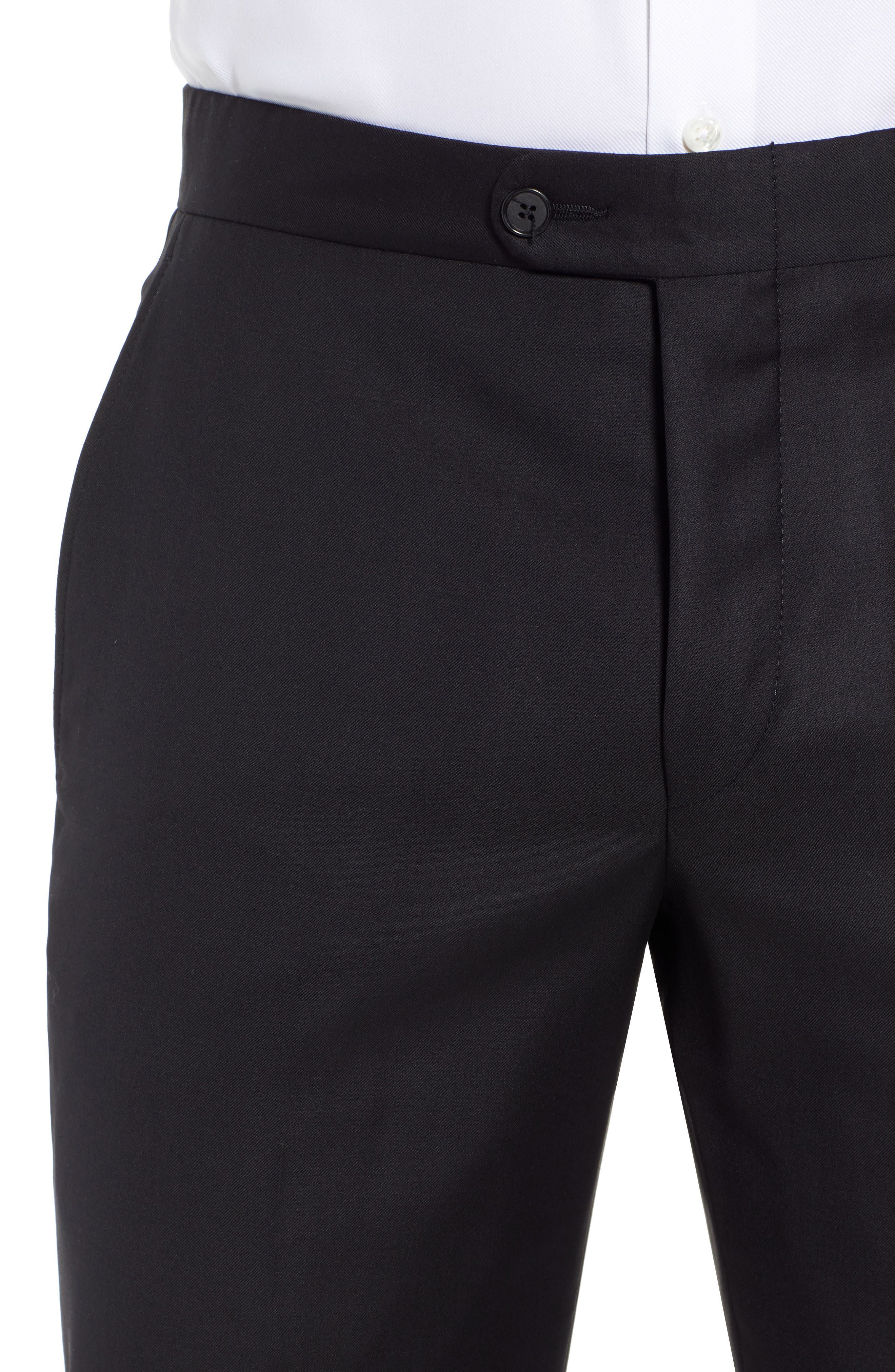 Classic B Fit Flat Front Solid Wool Trousers,                             Alternate thumbnail 4, color,                             BLACK SOLID