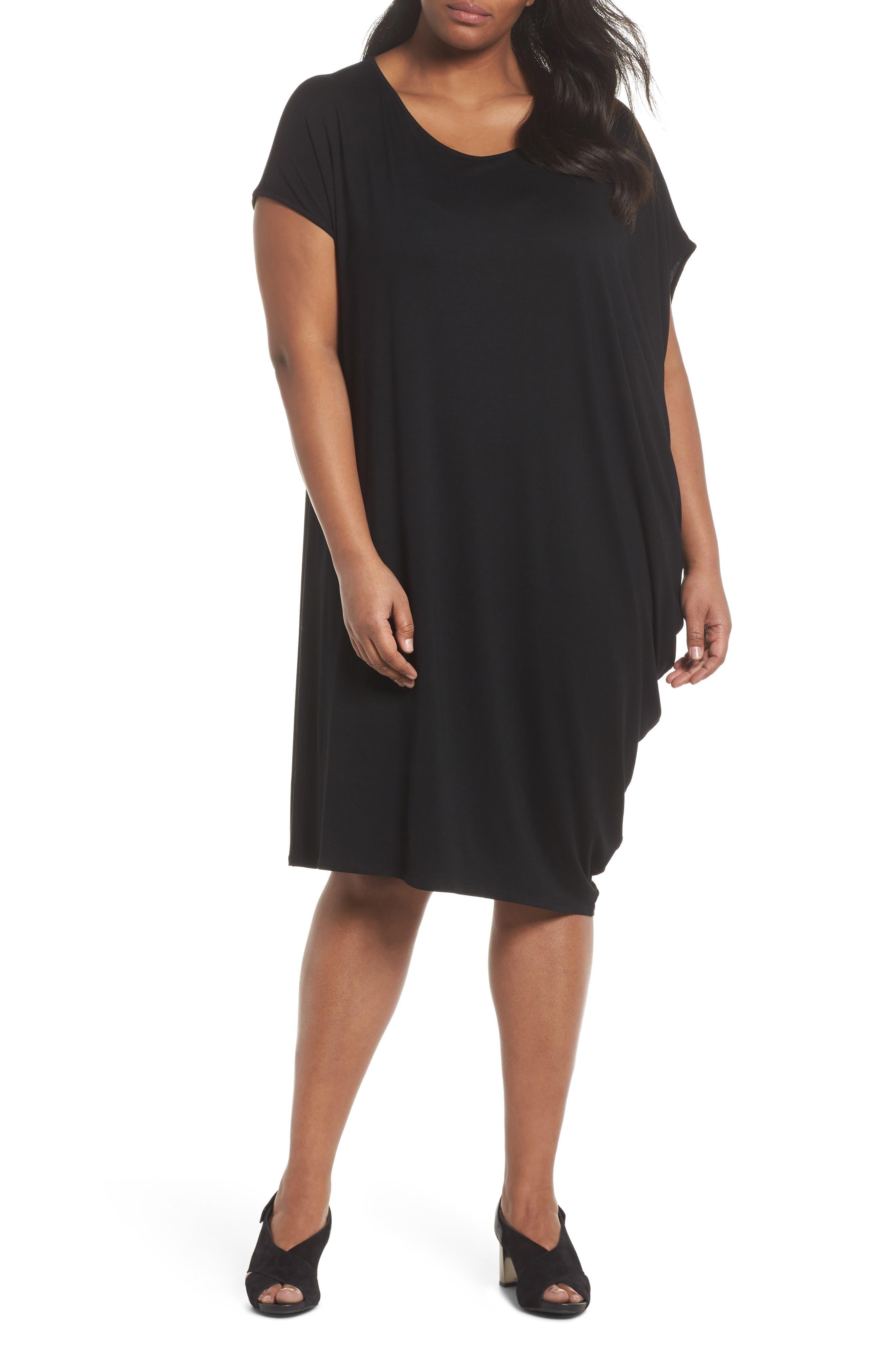 Asymmetrical Drape Jersey Dress,                             Main thumbnail 1, color,                             001