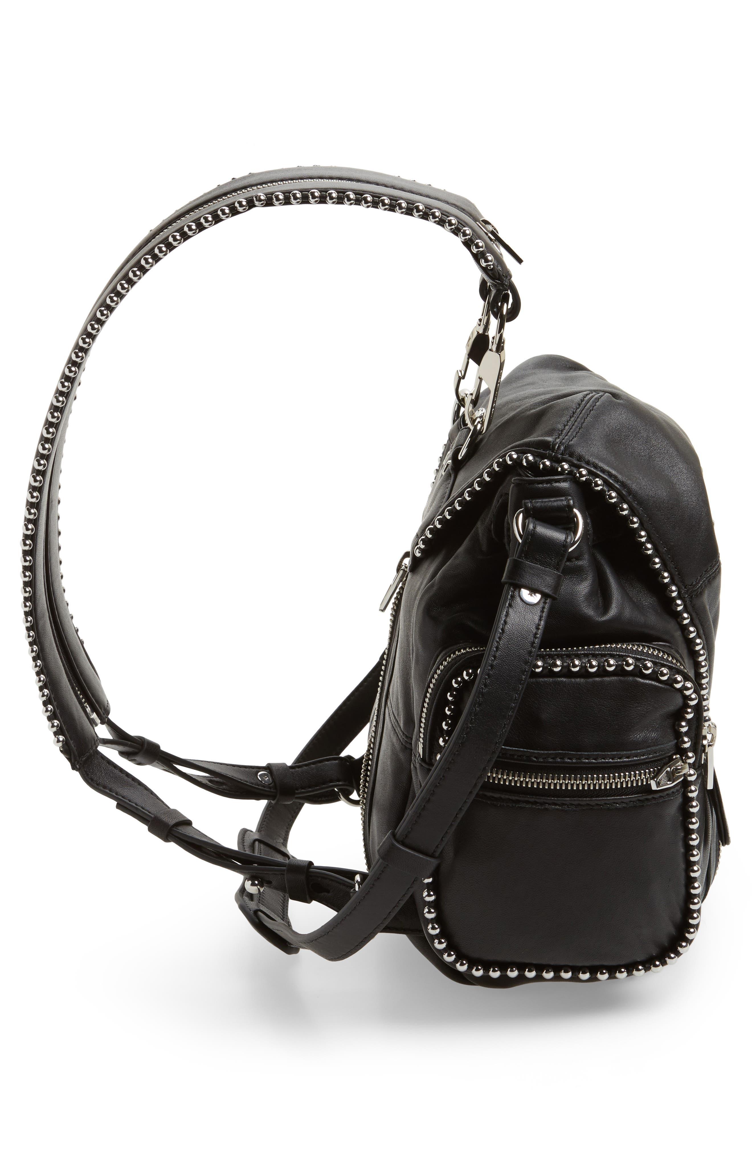 Mini Marti Ball Stud Leather Backpack,                             Alternate thumbnail 5, color,                             001