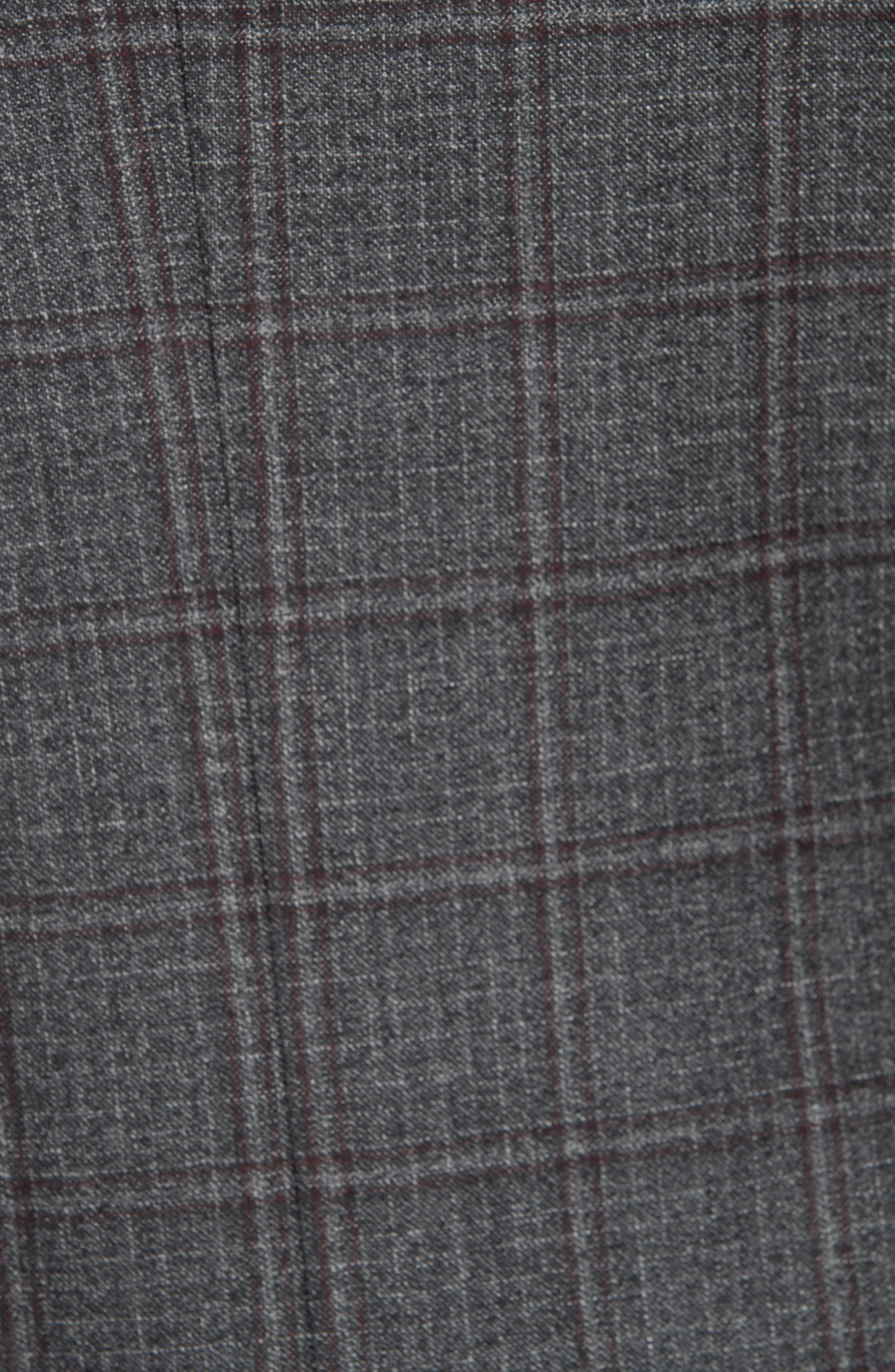 Trim Fit Plaid Wool Suit,                             Alternate thumbnail 6, color,                             GREY/ BURGUNDY