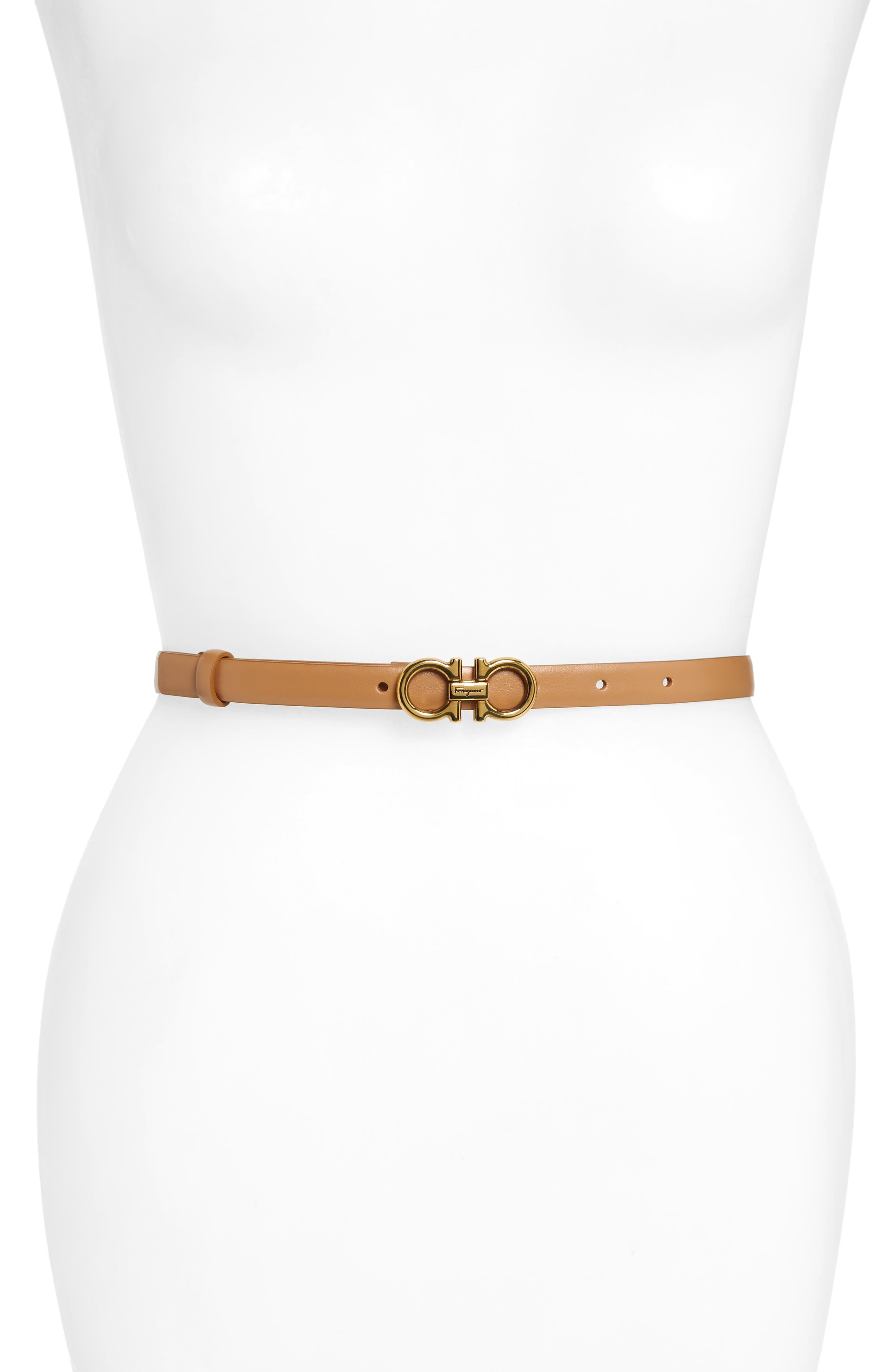 Salvatore Ferragamo X-Small New Gancini Leather Belt, New Cuoio