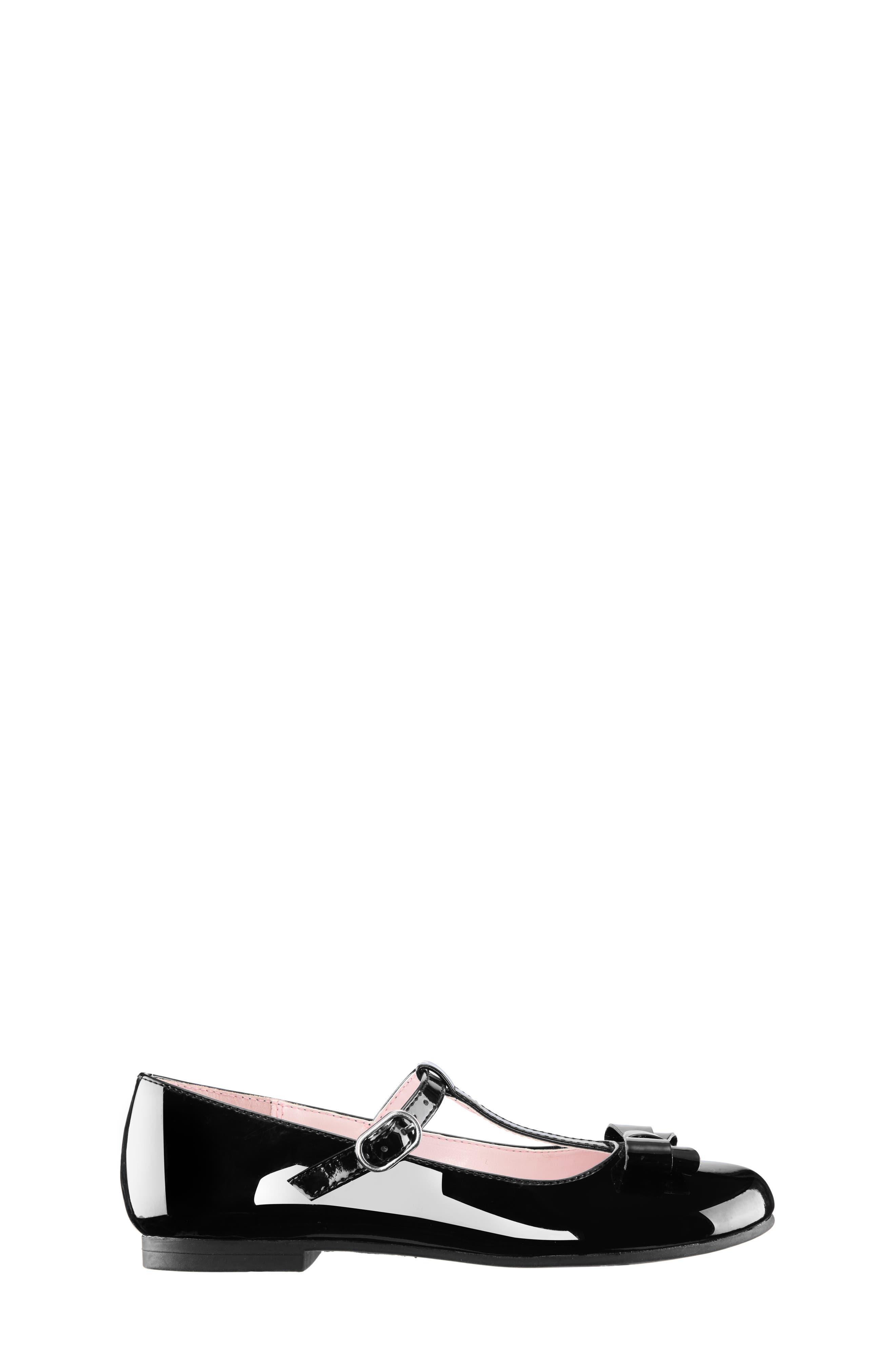 Merrilyn T-Strap Bow Flat,                             Alternate thumbnail 3, color,                             BLACK PATENT