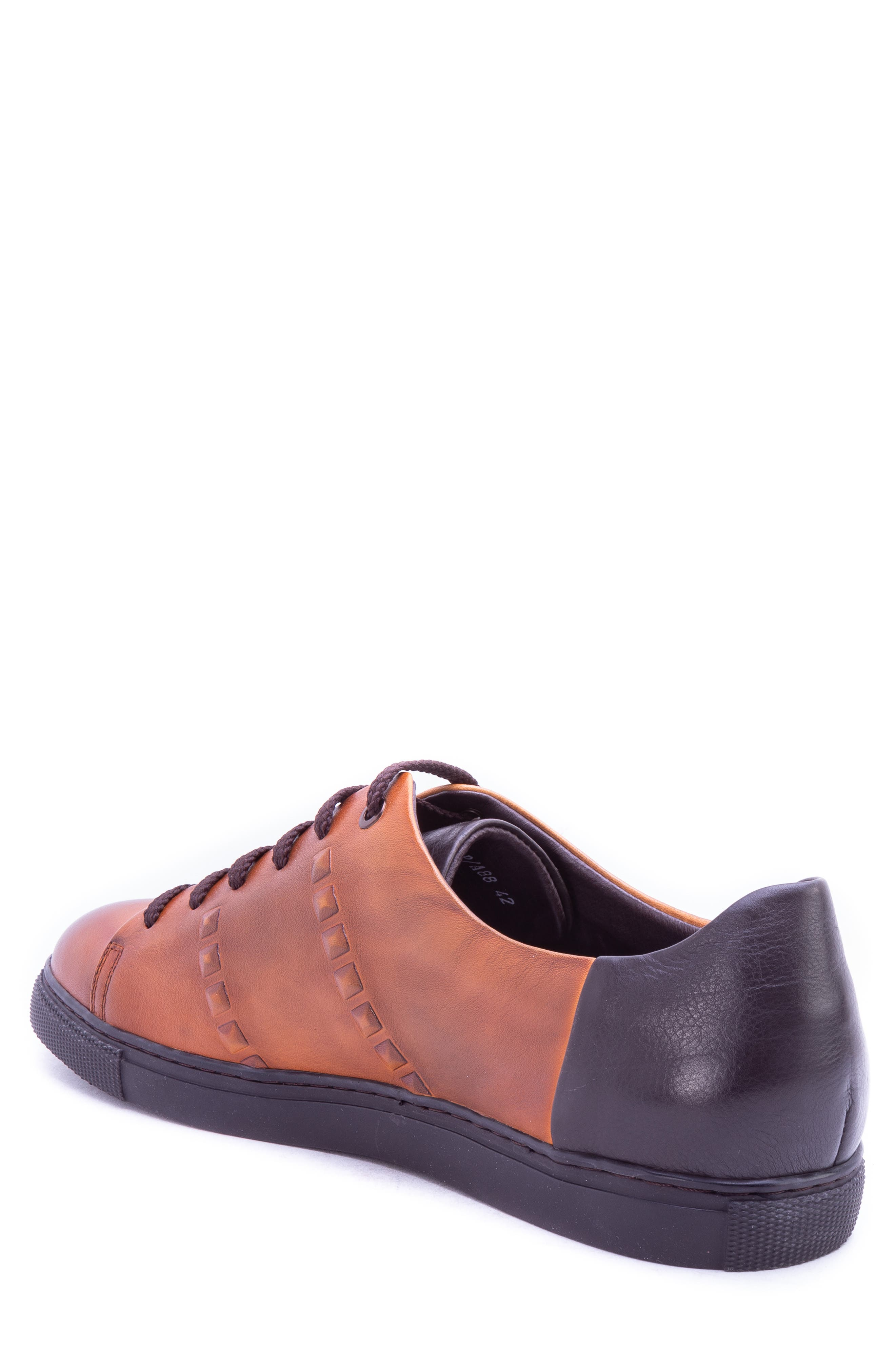 Strozzi Studded Sneaker,                             Alternate thumbnail 2, color,                             COGNAC LEATHER