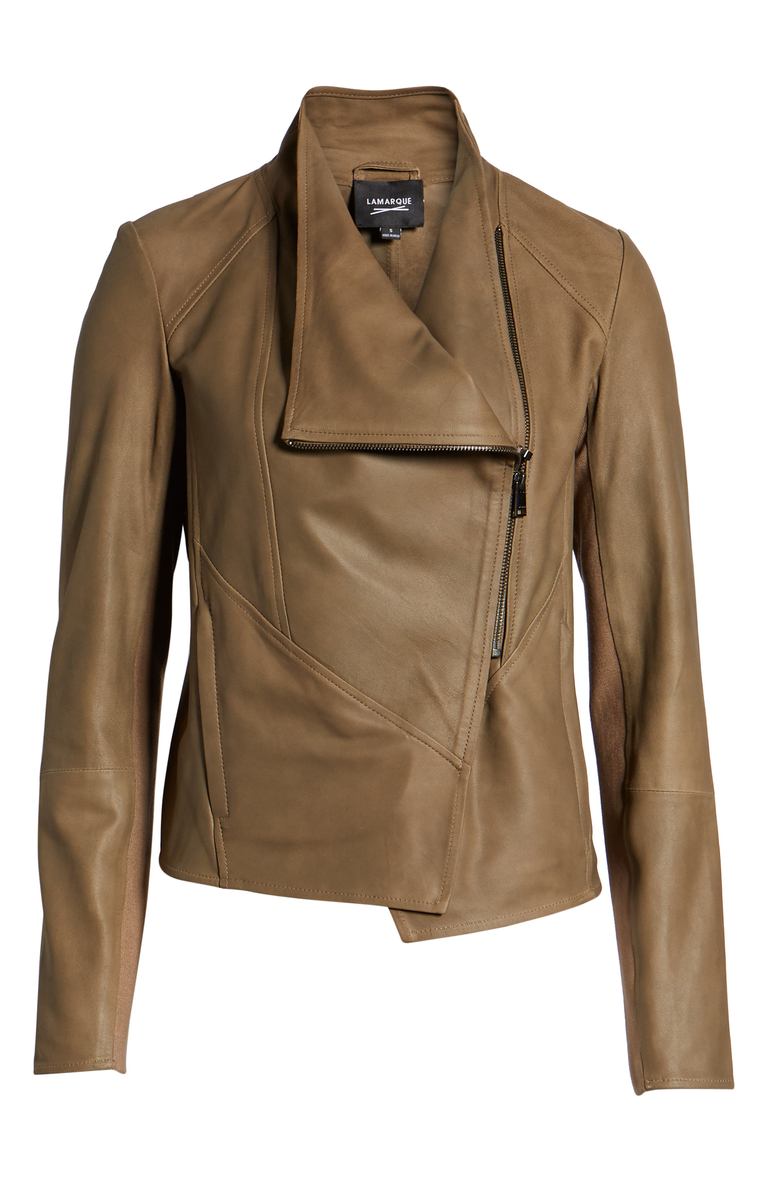 Asymmetrical Zip Front Leather Cascade Jacket,                             Alternate thumbnail 5, color,                             TAUPE