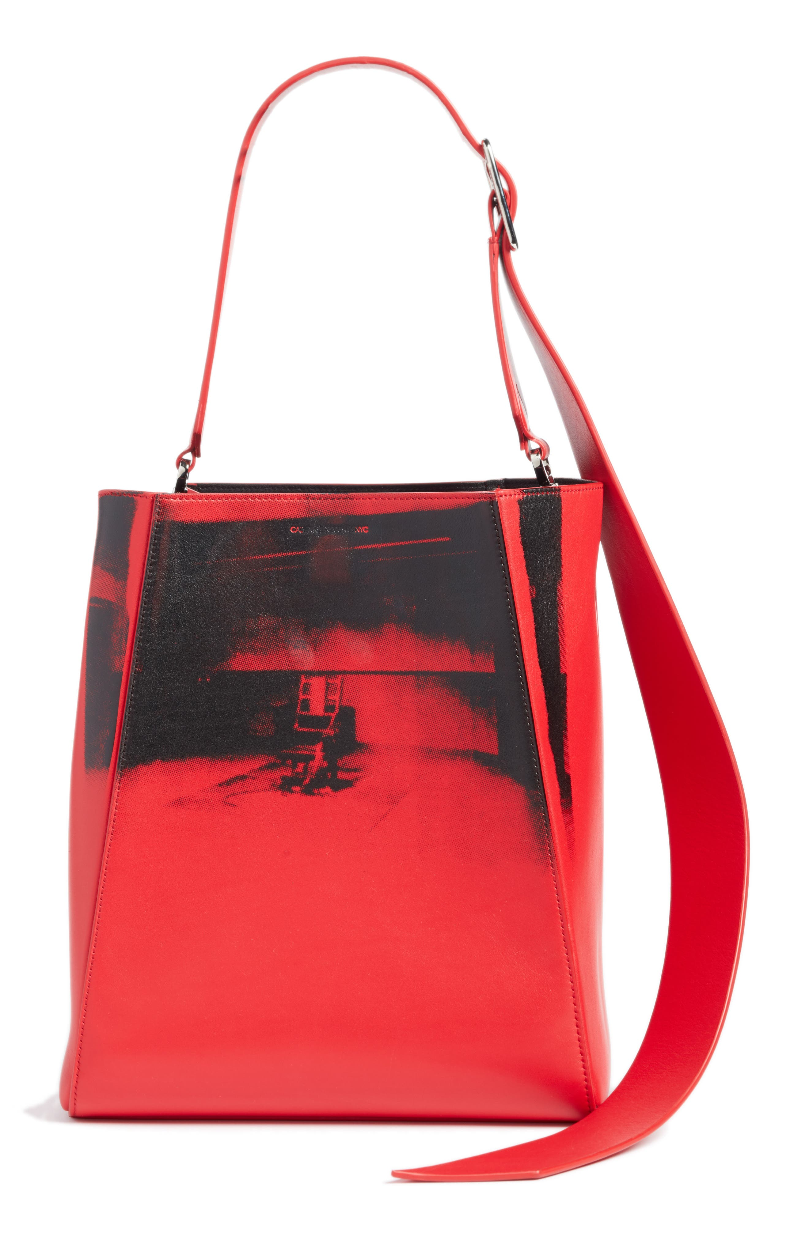 x Andy Warhol Foundation Electric Chair Leather Bucket Bag,                             Main thumbnail 1, color,                             621